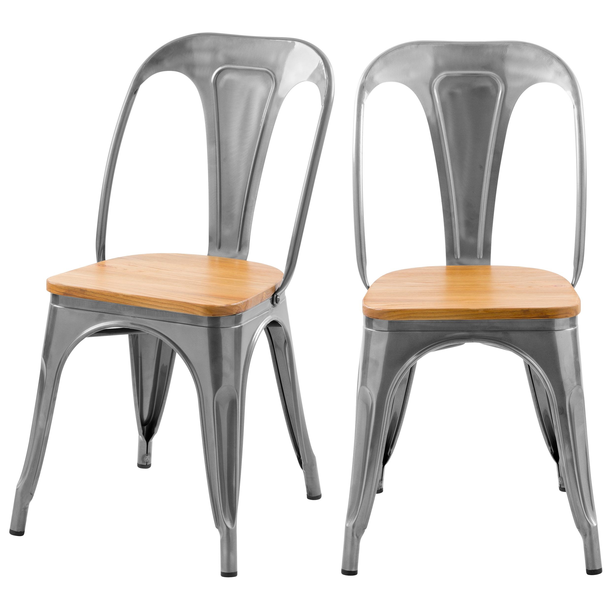Chaise en métal chrome et bois d'orme (lot de 2)