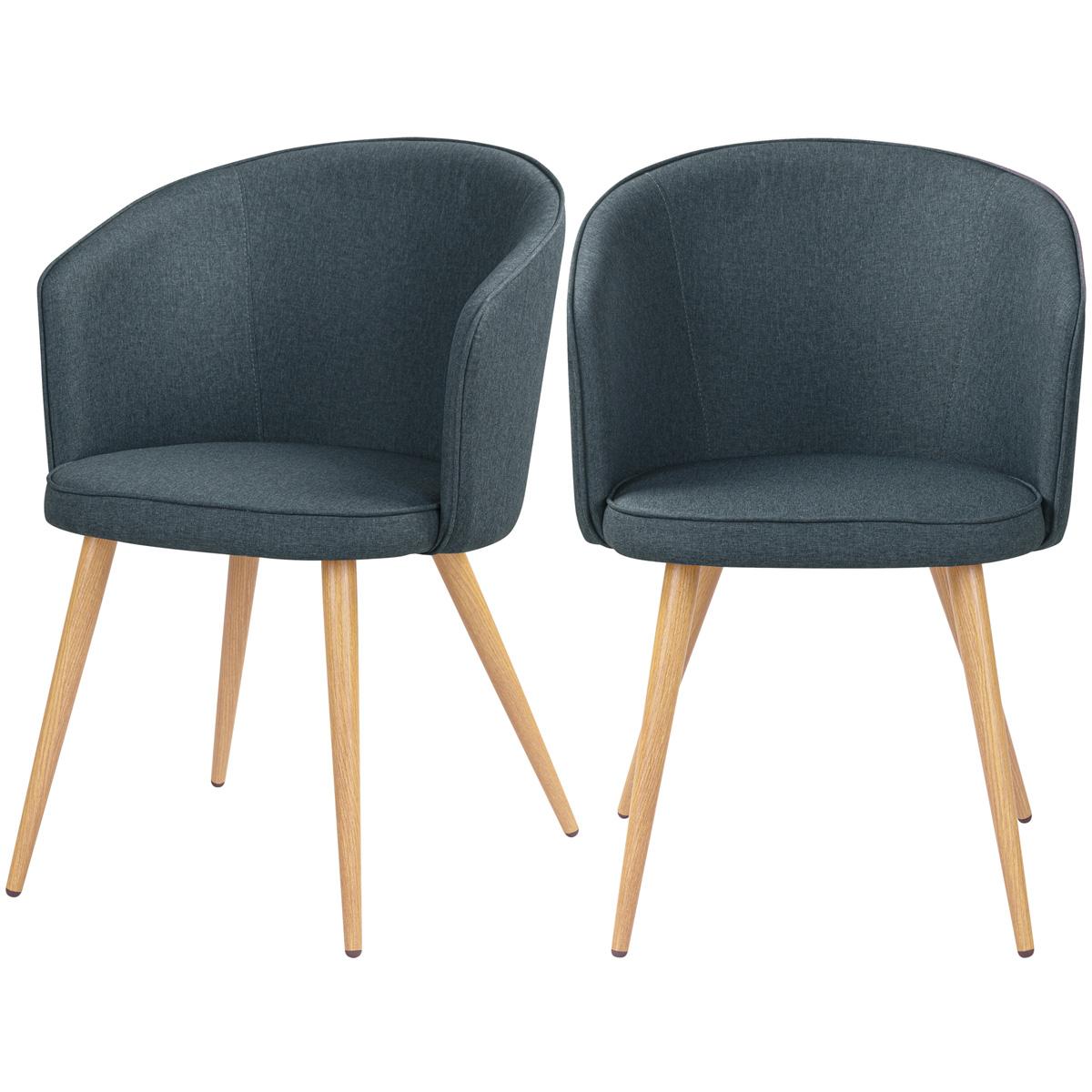 Chaise en tissu gris foncé et pieds en métal (lot de 2)