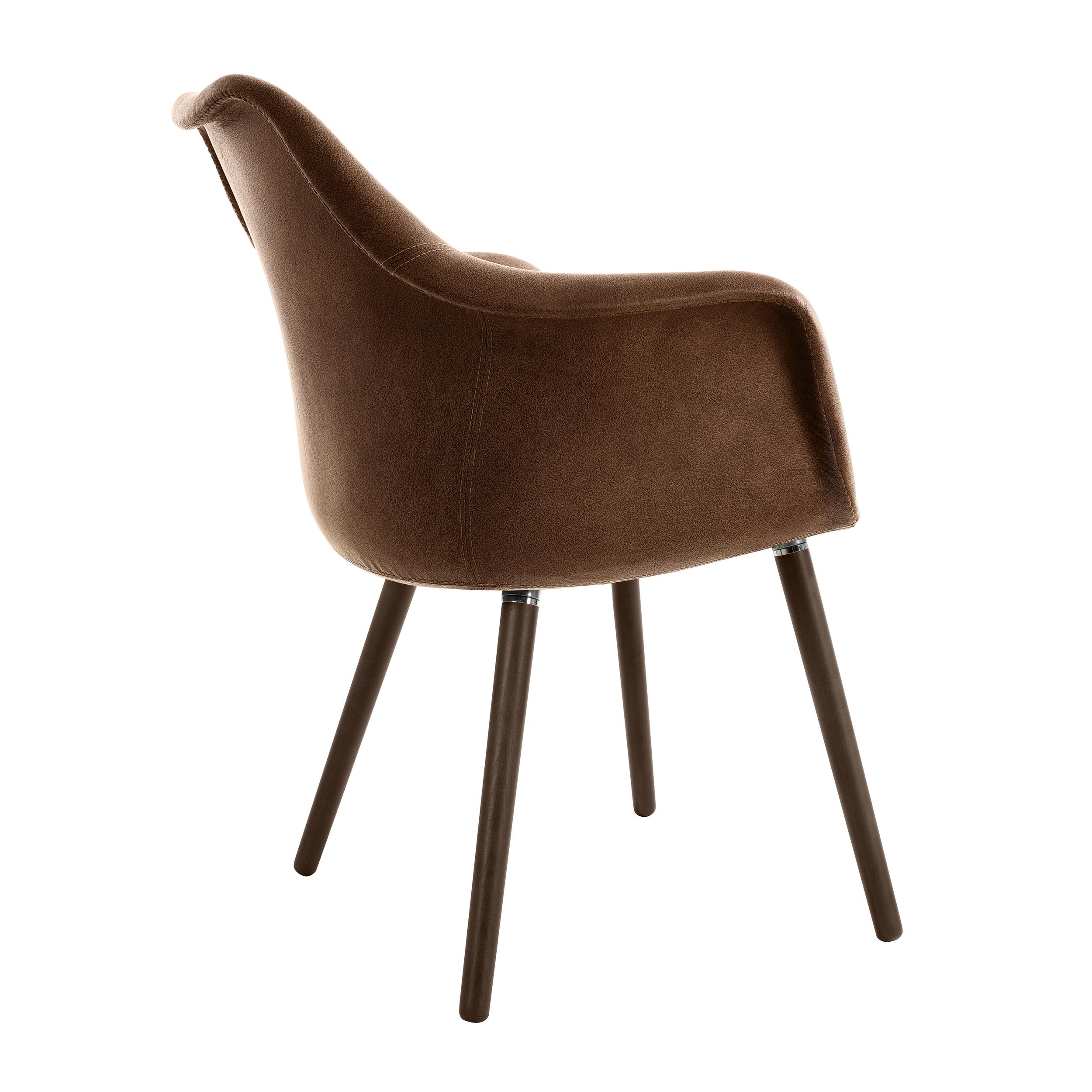 Chaise en tissu marron effet cuir vieilli
