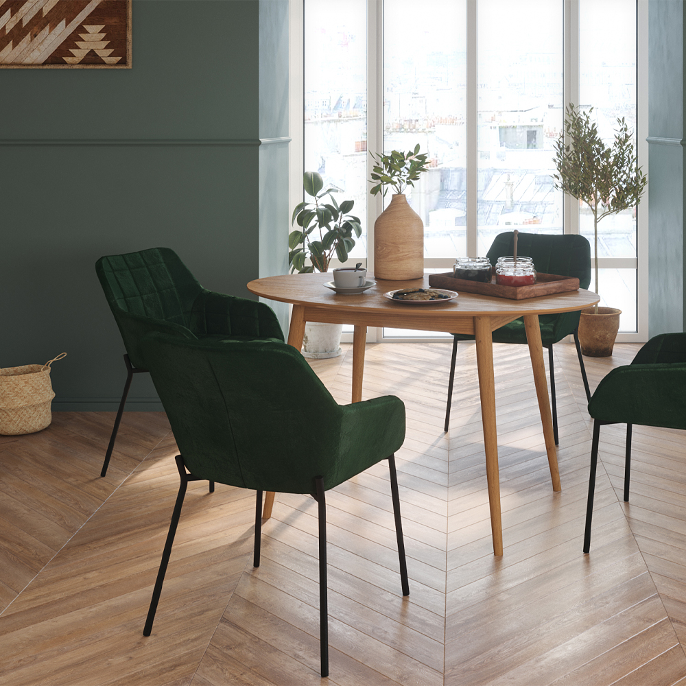 Chaise en velours vert foncé (lot de 2)