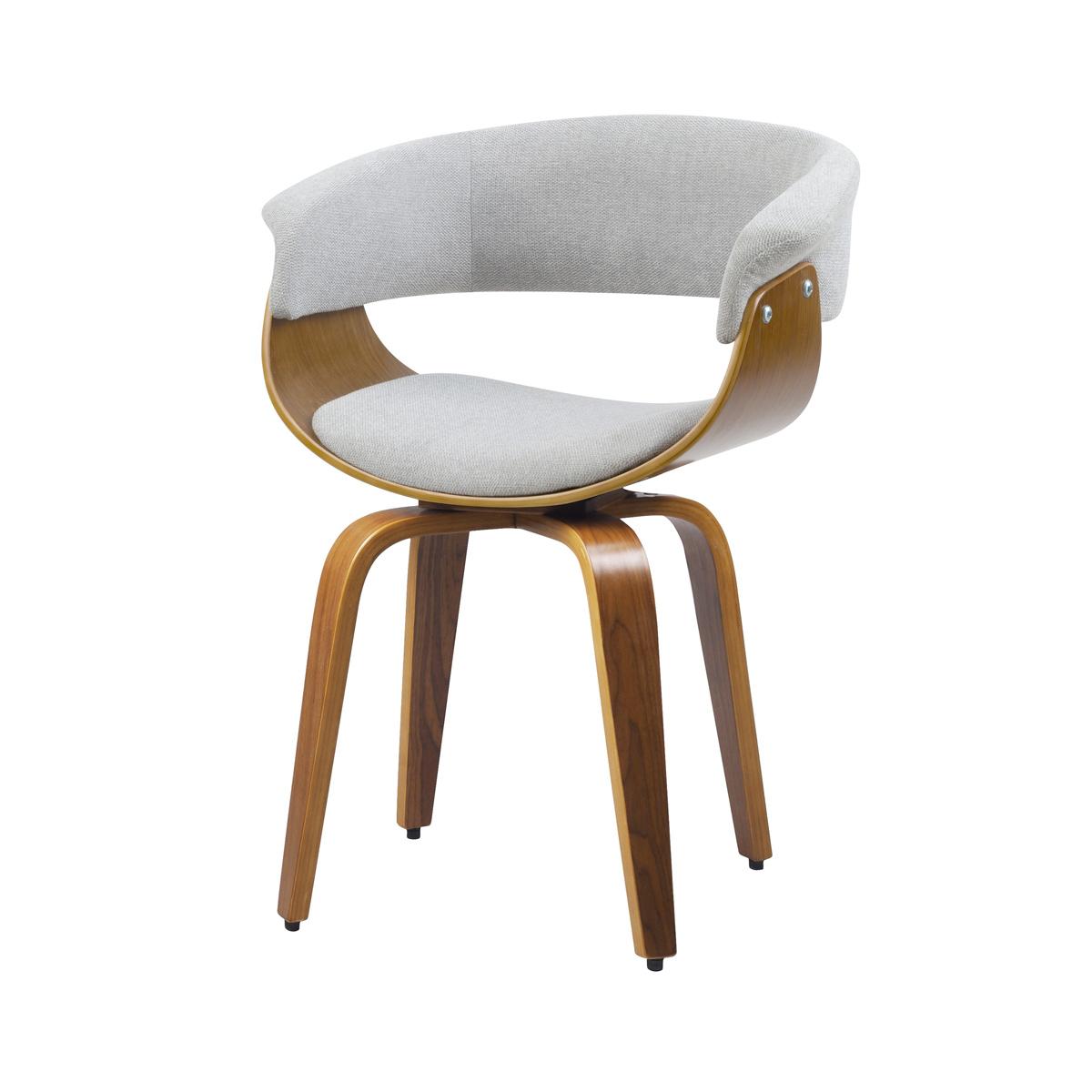 Chaise pivotante en tissu gris et pieds en bois plaqué noyer