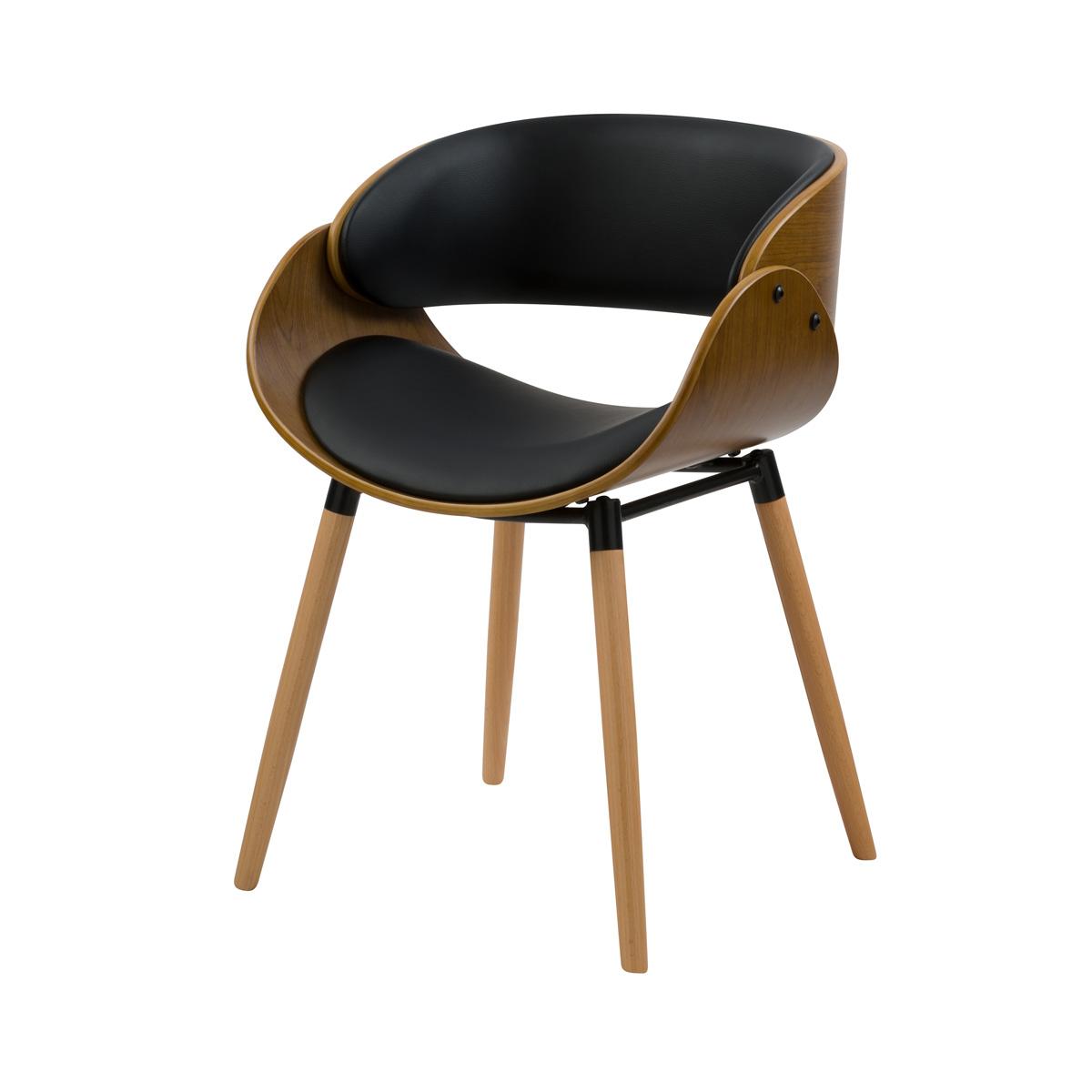 Chaise en cuir synthétique noir et bois plaqué noyer