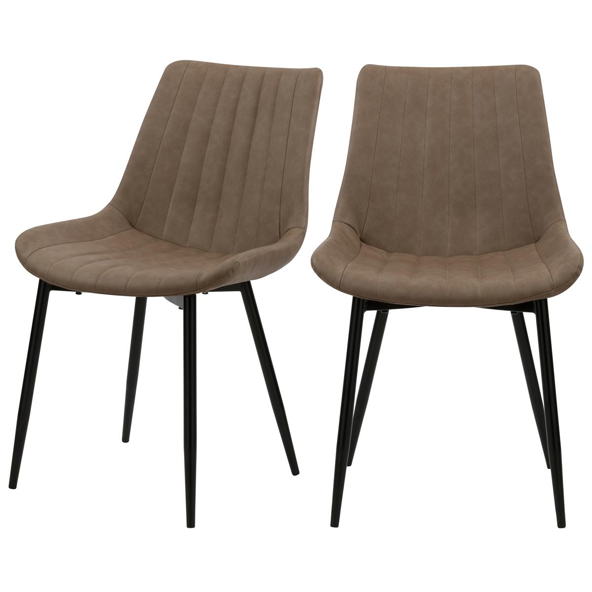 Chaise en cuir synthétique taupe et métal noir (lot de 2)
