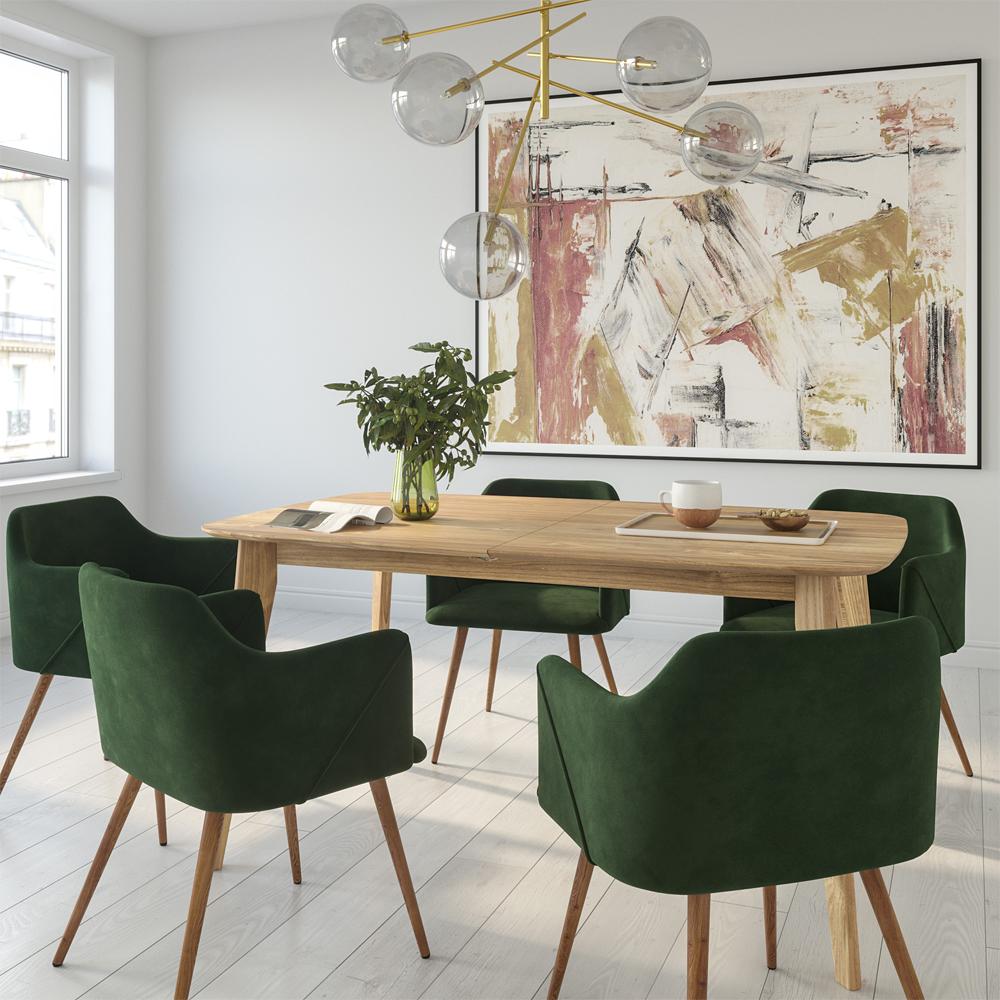 Chaise avec accoudoirs en velours vert foncé (lot de 2)