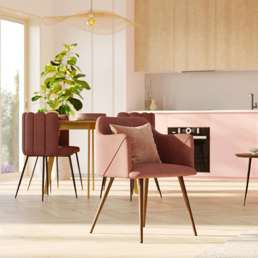 Chaise avec accoudoirs en velours rose (lot de 2)