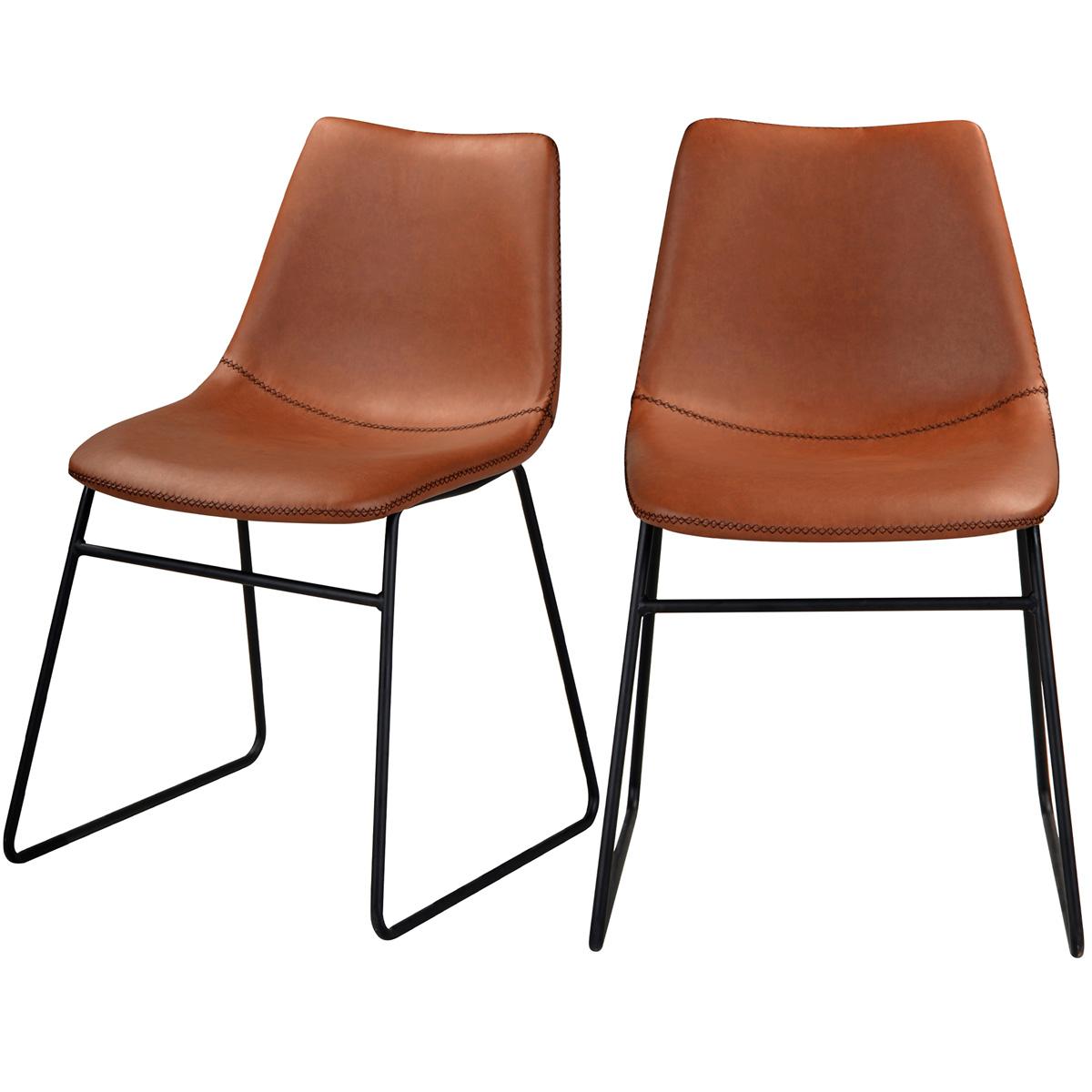 Chaise en cuir synthétique marron (lot de 2)