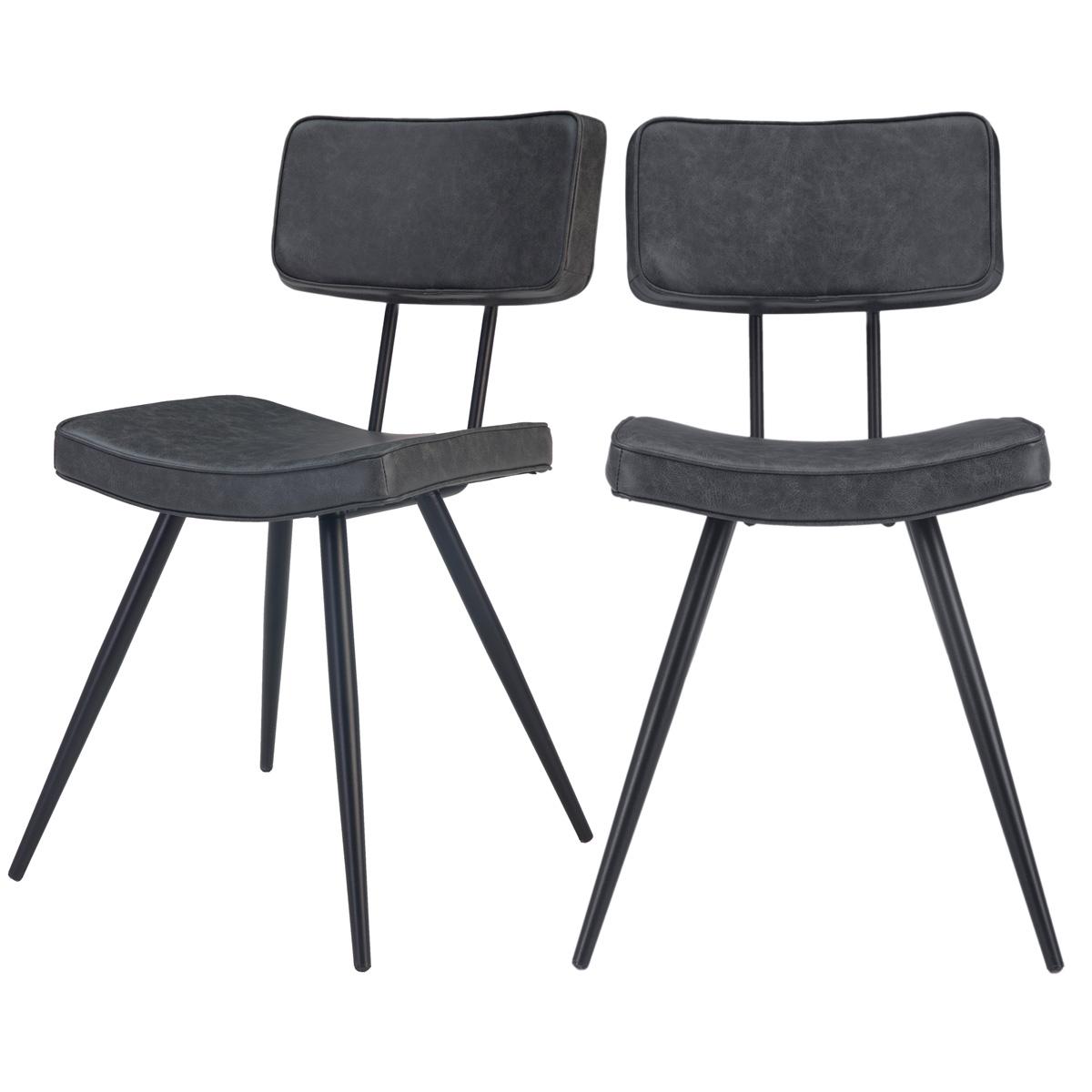 Chaise en cuir synthétique gris/noir (lot de 2)