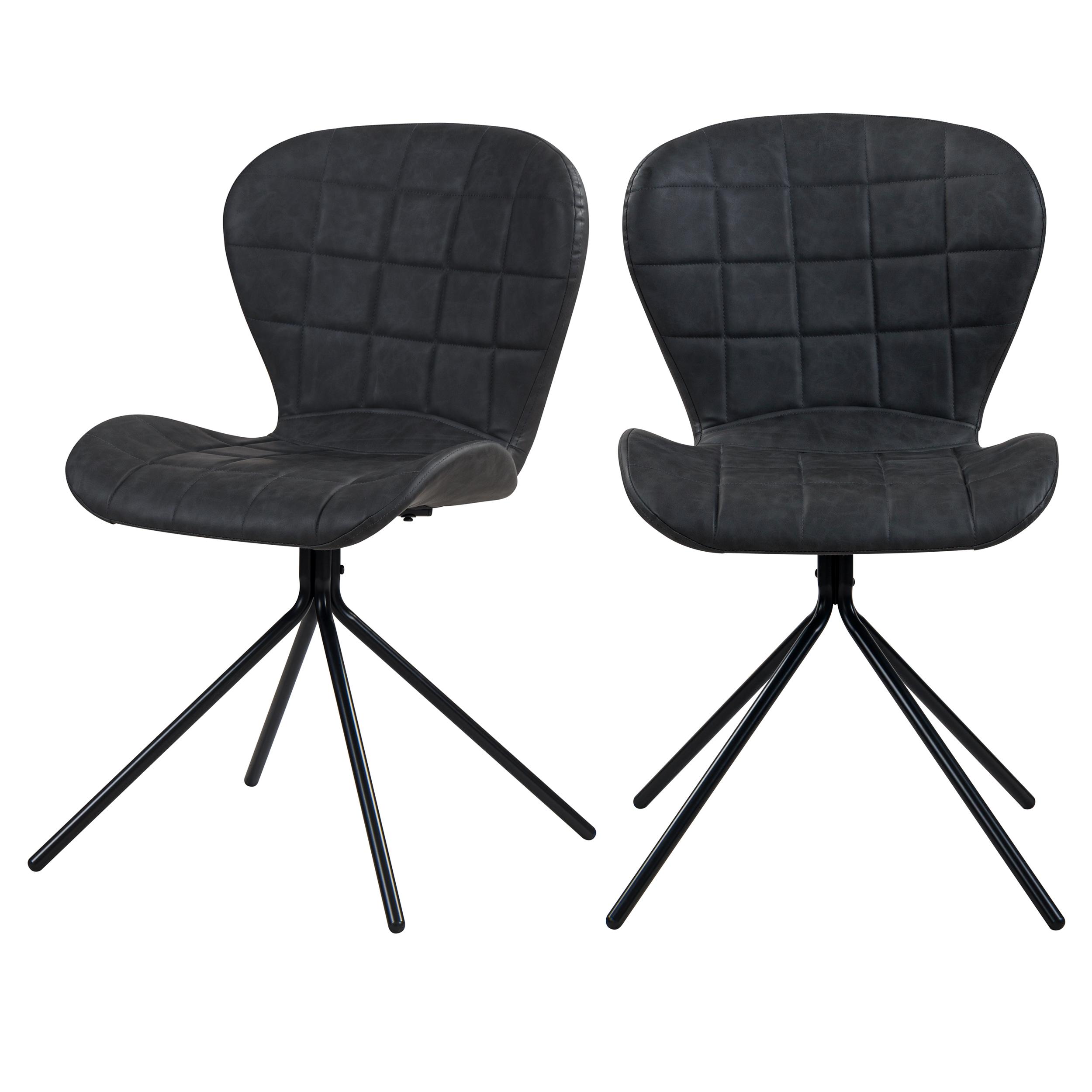 Chaise en PU molletonné gris foncé et pieds en métal