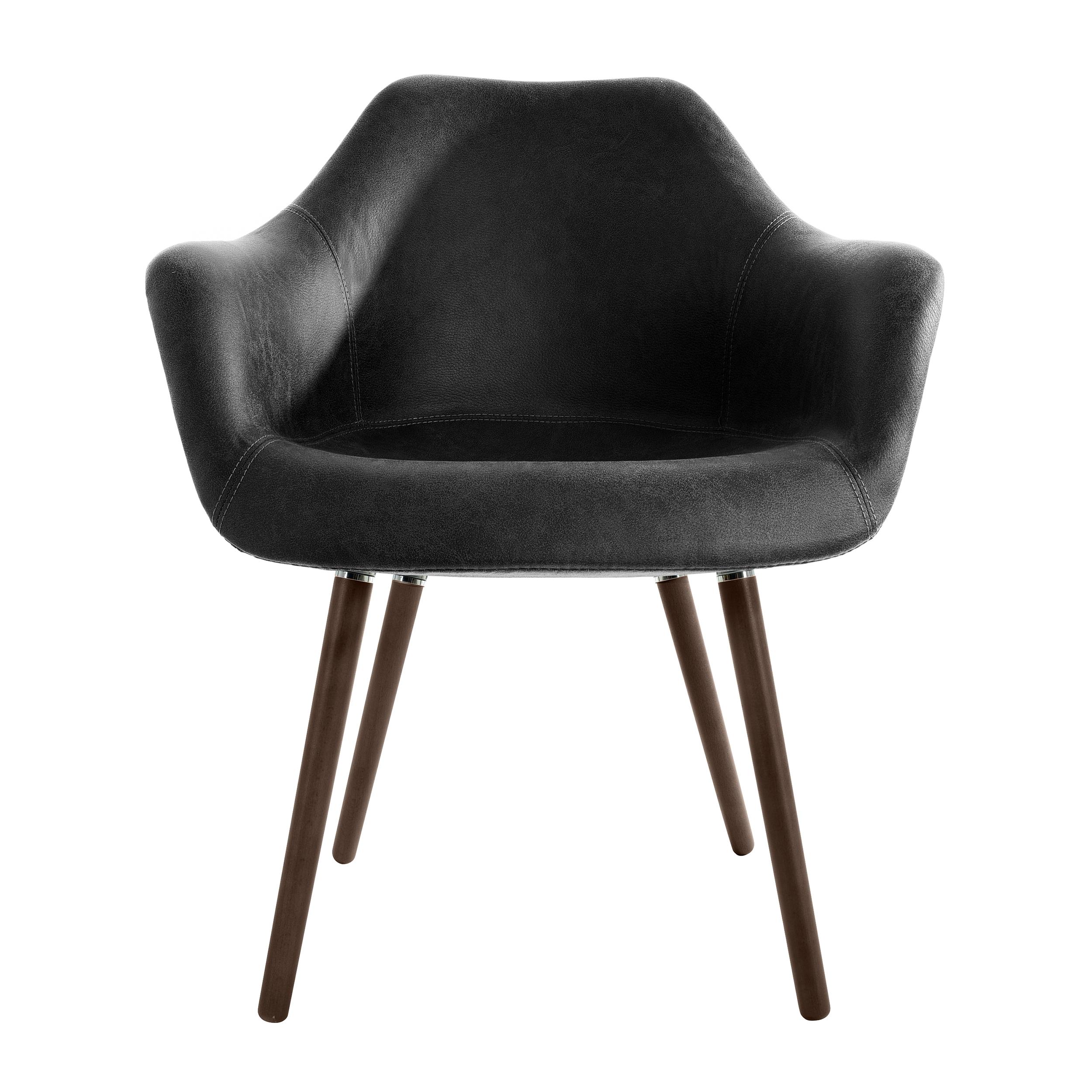 Chaise en tissu noir effet cuir vieilli