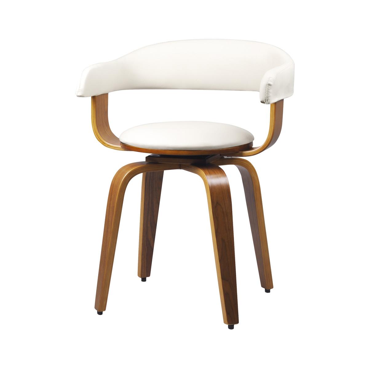 Chaise avec accoudoirs en cuir synthétique blanc