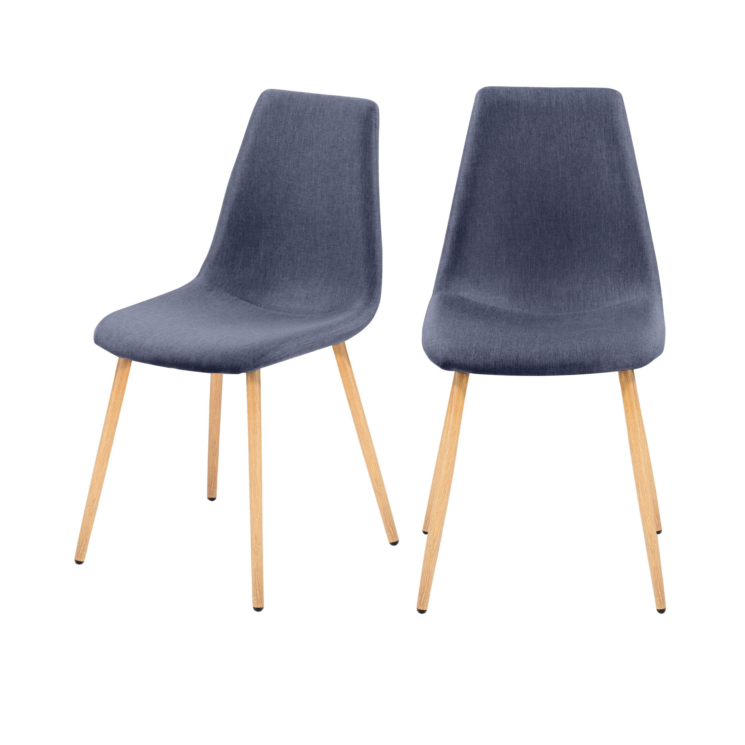 Chaise en tissu bleu gris (lot de 2)