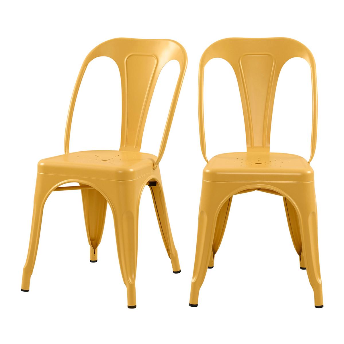 Chaise en métal jaune mat (lot de 2)
