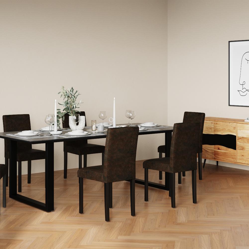 Chaise en tissu polyester marron (lot de 2)