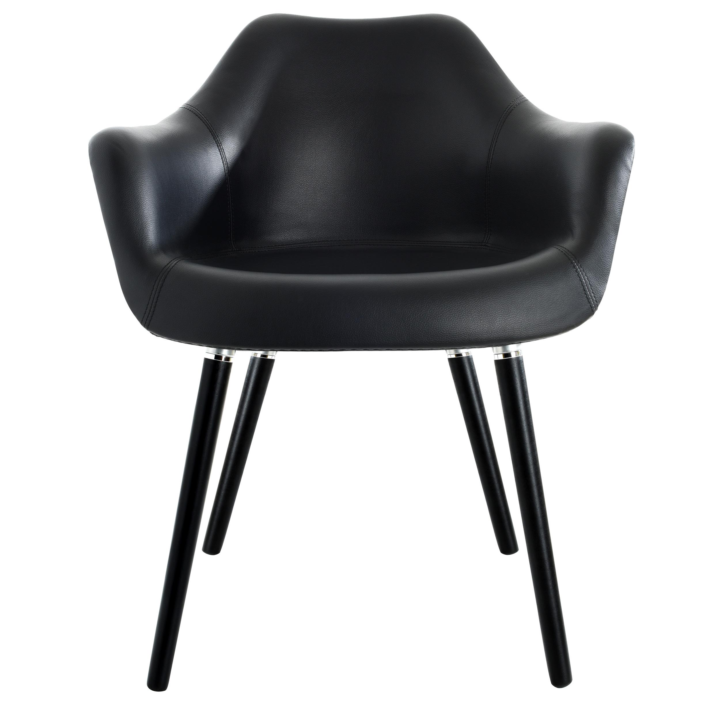 Chaise en cuir synthétique noir