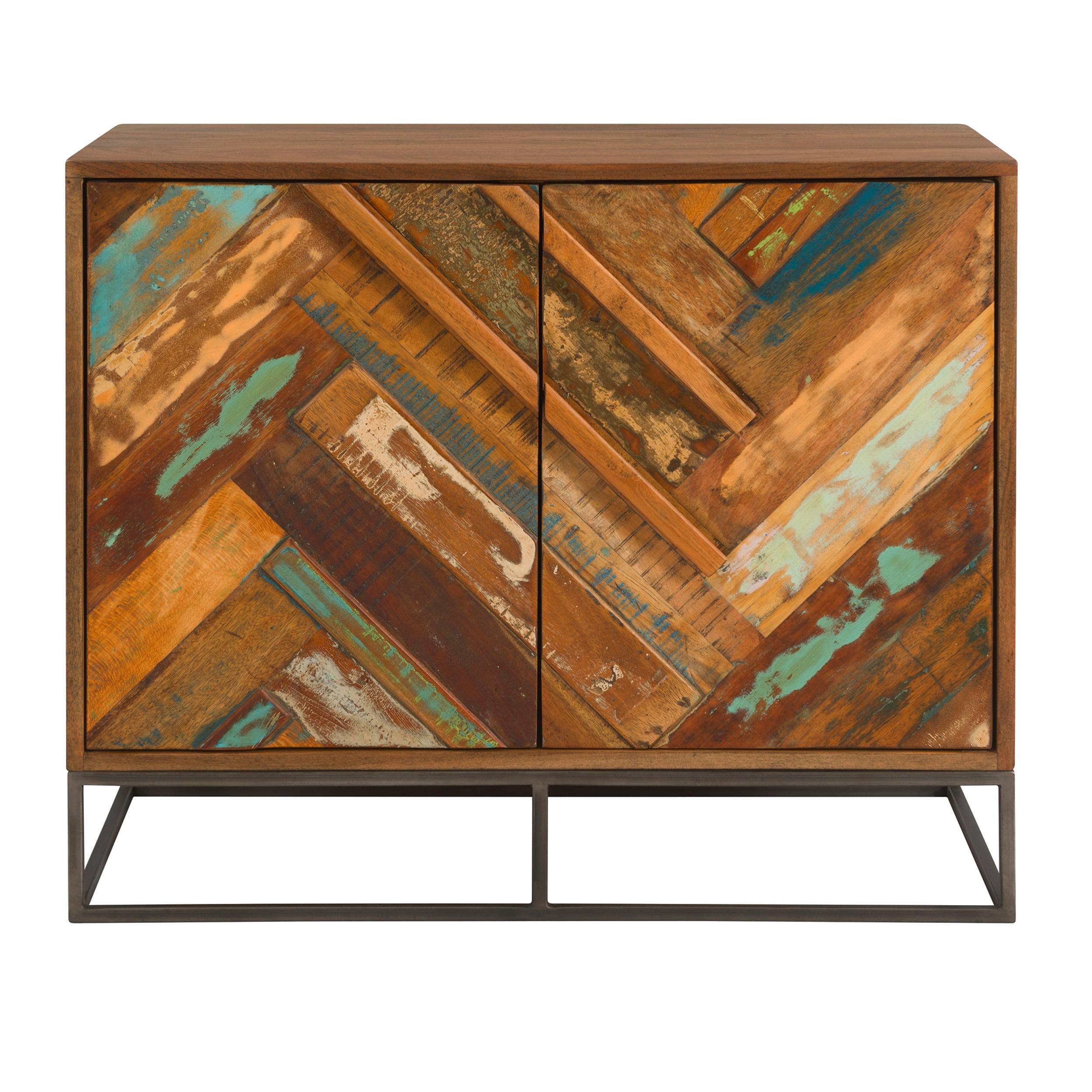 Commode 2 portes en bois d'acacia et bois recyclé