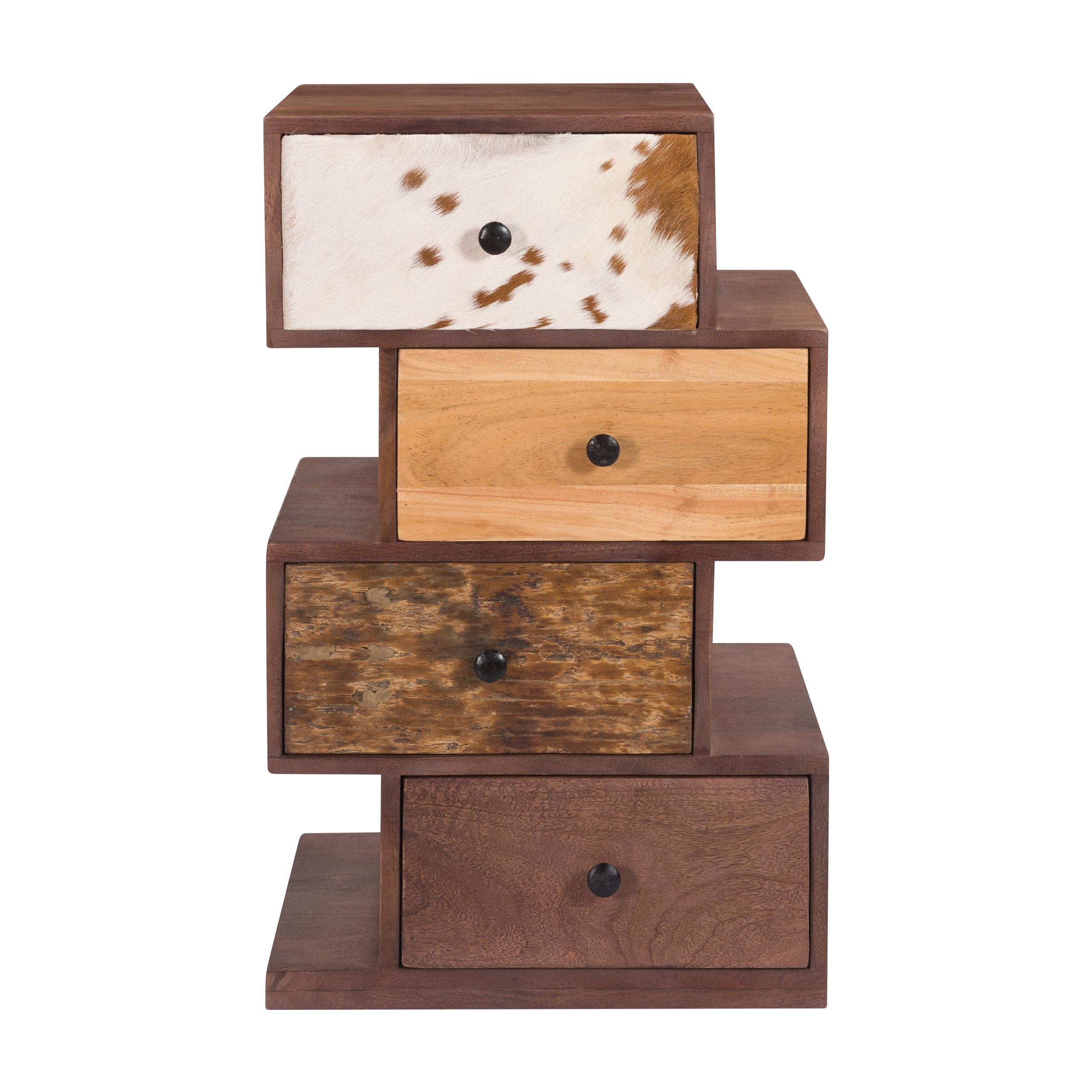 Chiffonnier zigzag 4 tiroirs en bois recyclé et cuir