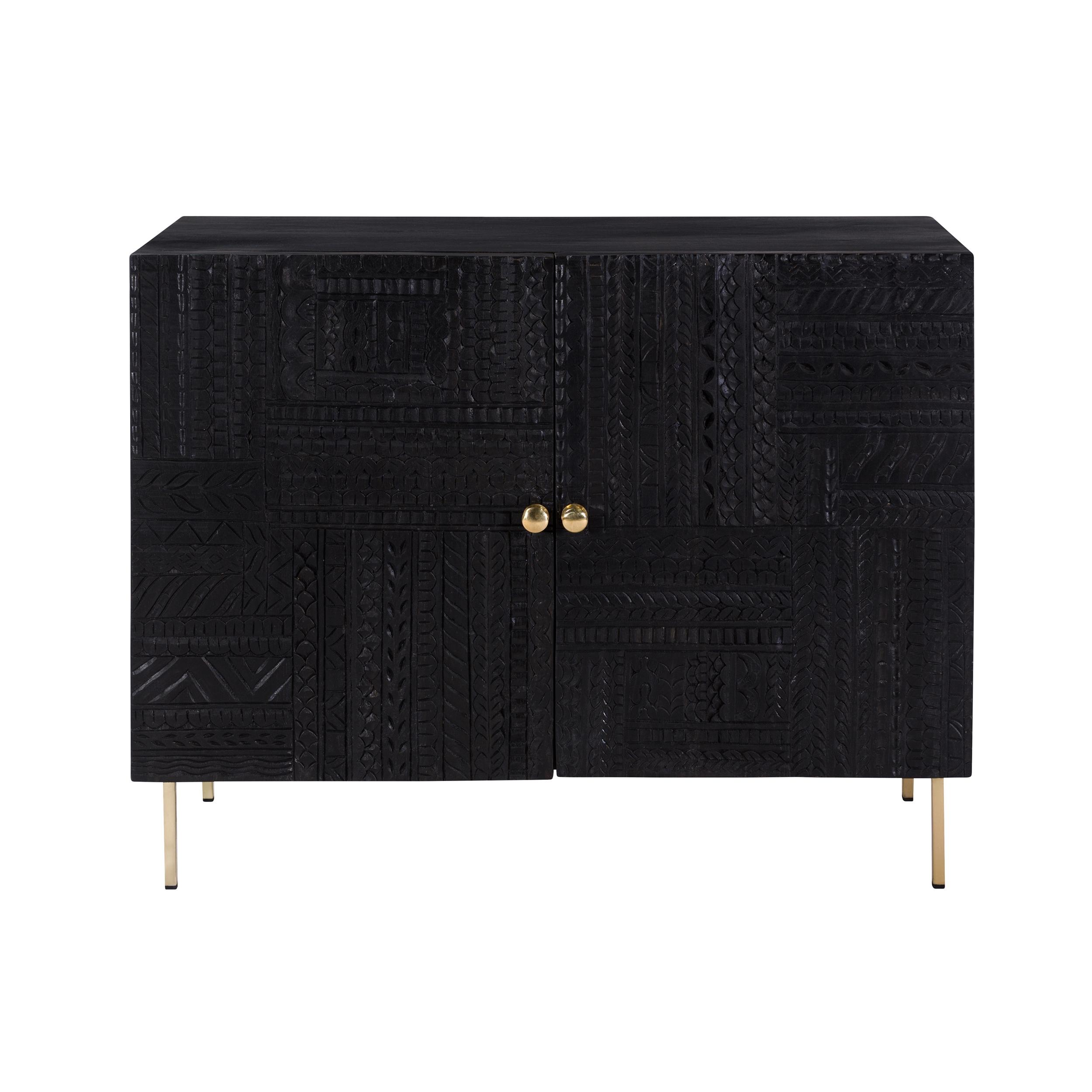 Commode 2 portes en bois gravé noir et métal doré