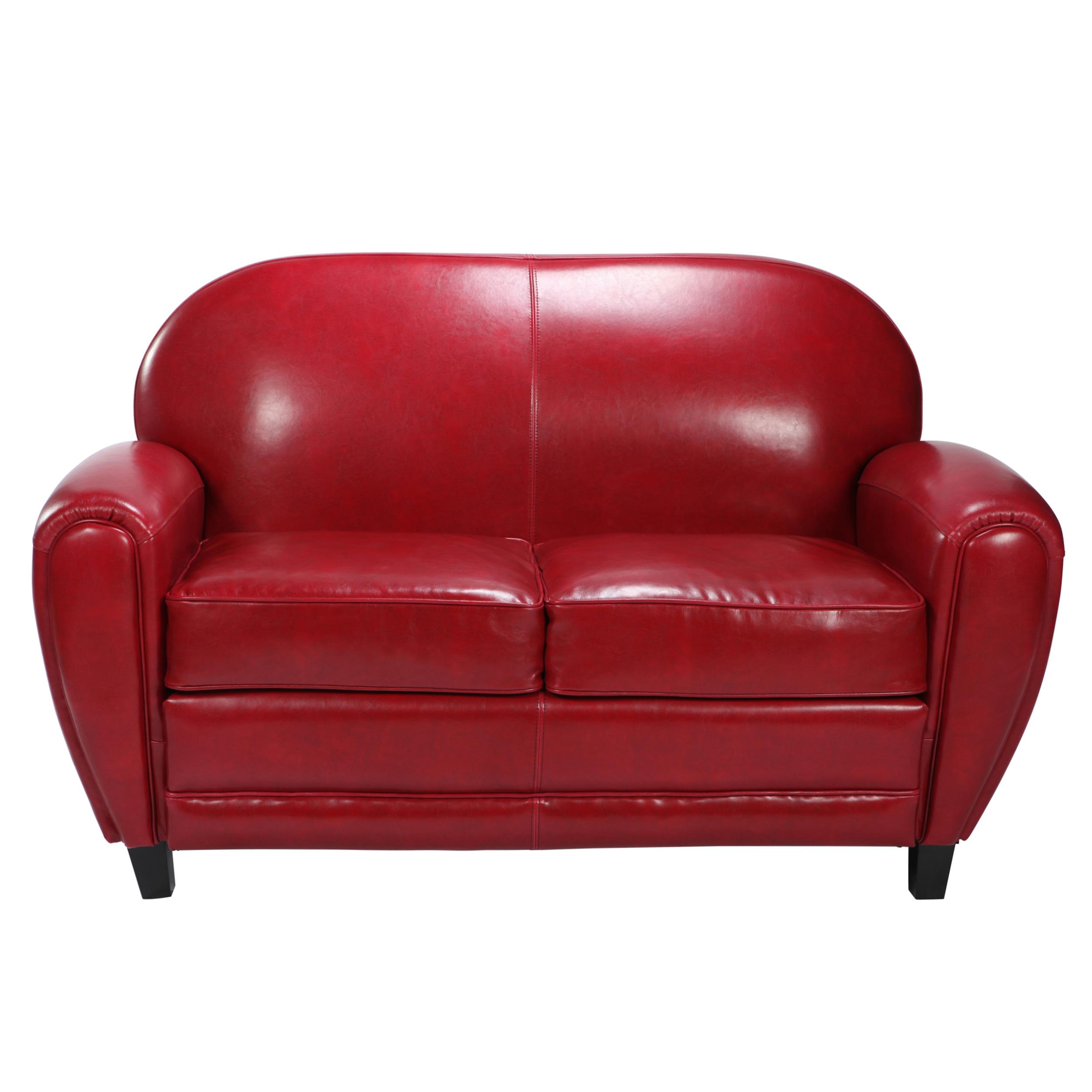 Canapé droit 2 places Rouge Cuir Design Confort