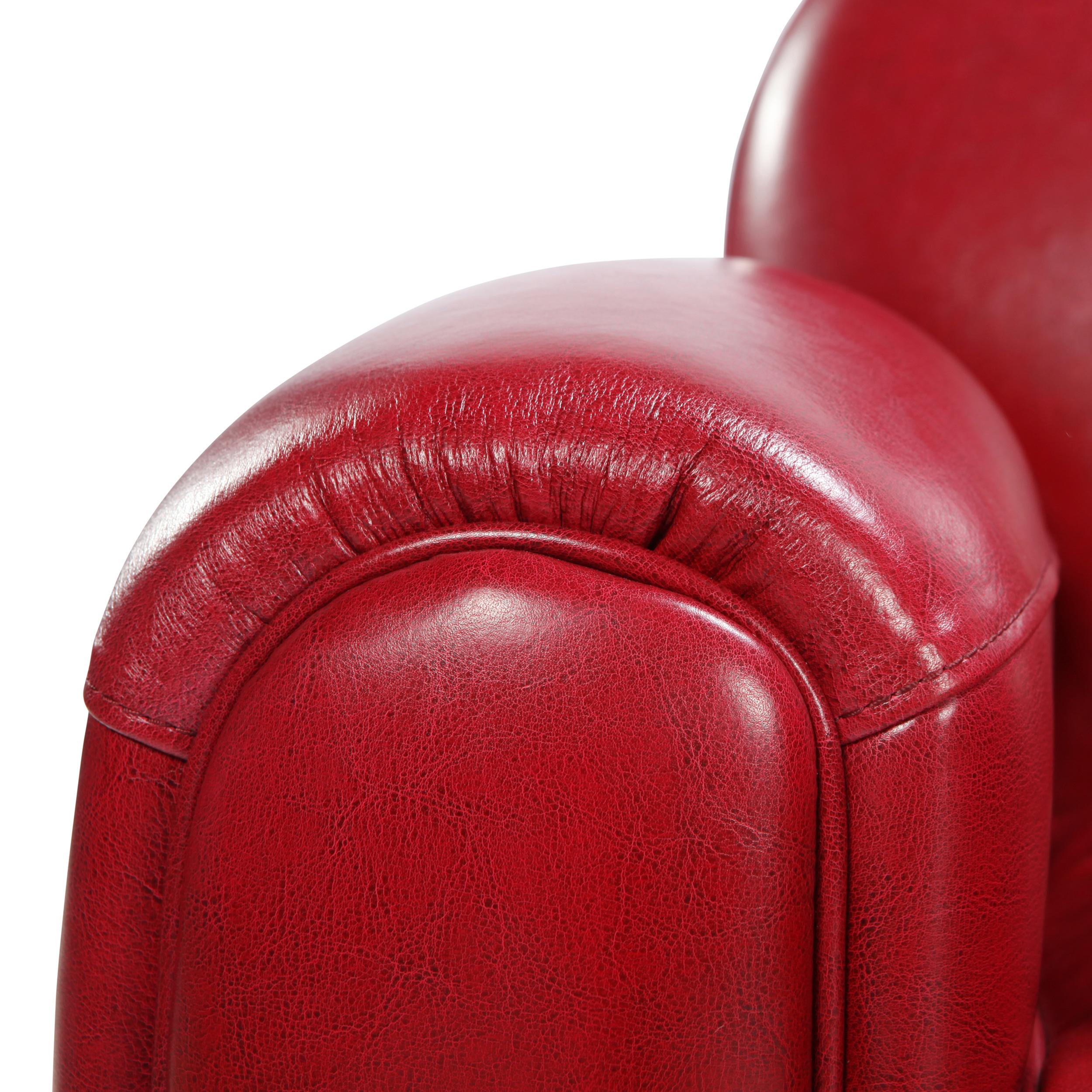 Canapé 2 places rouge en croute de cuir enduite