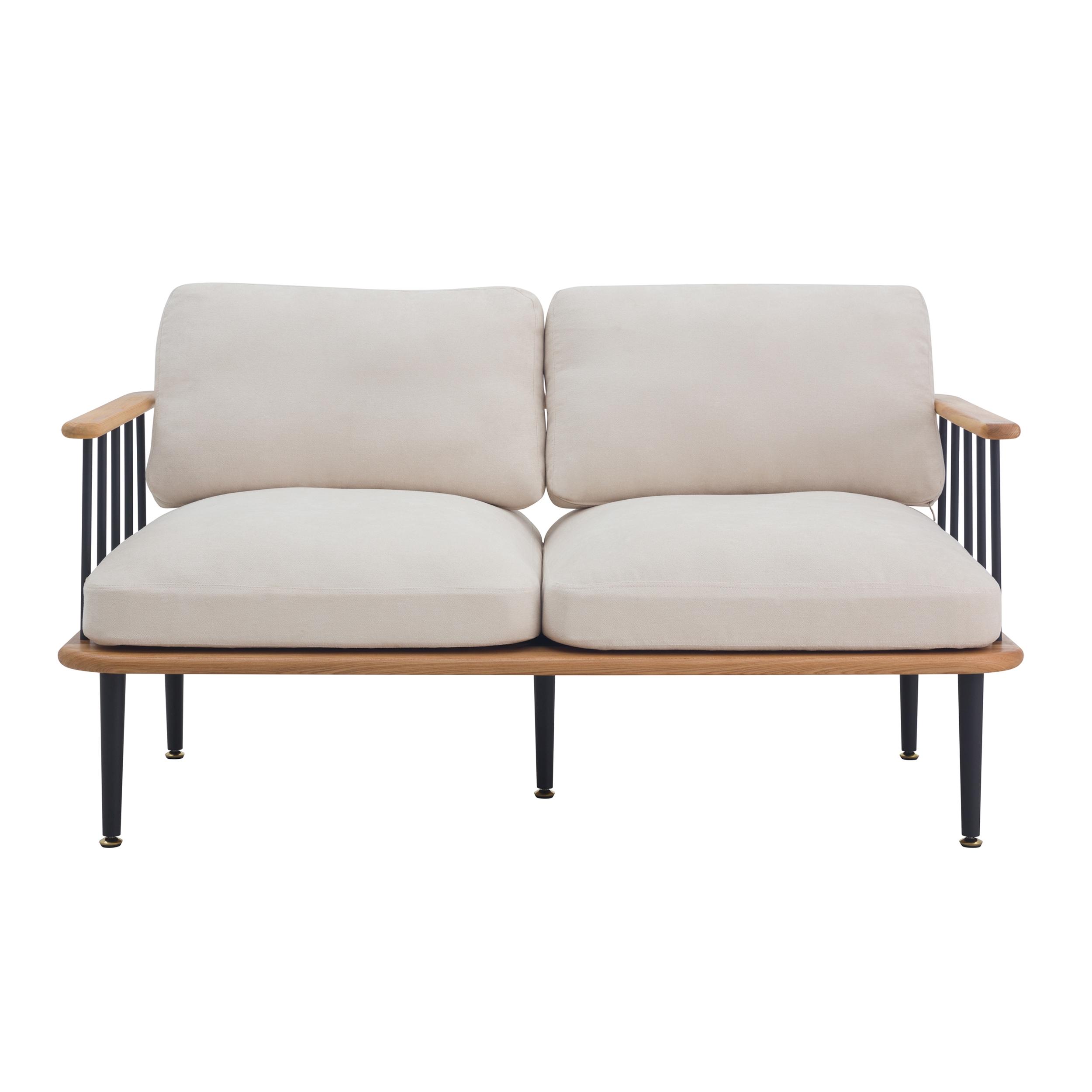 Canapé 2 places en bois d'orme, tissu beige et métal noir