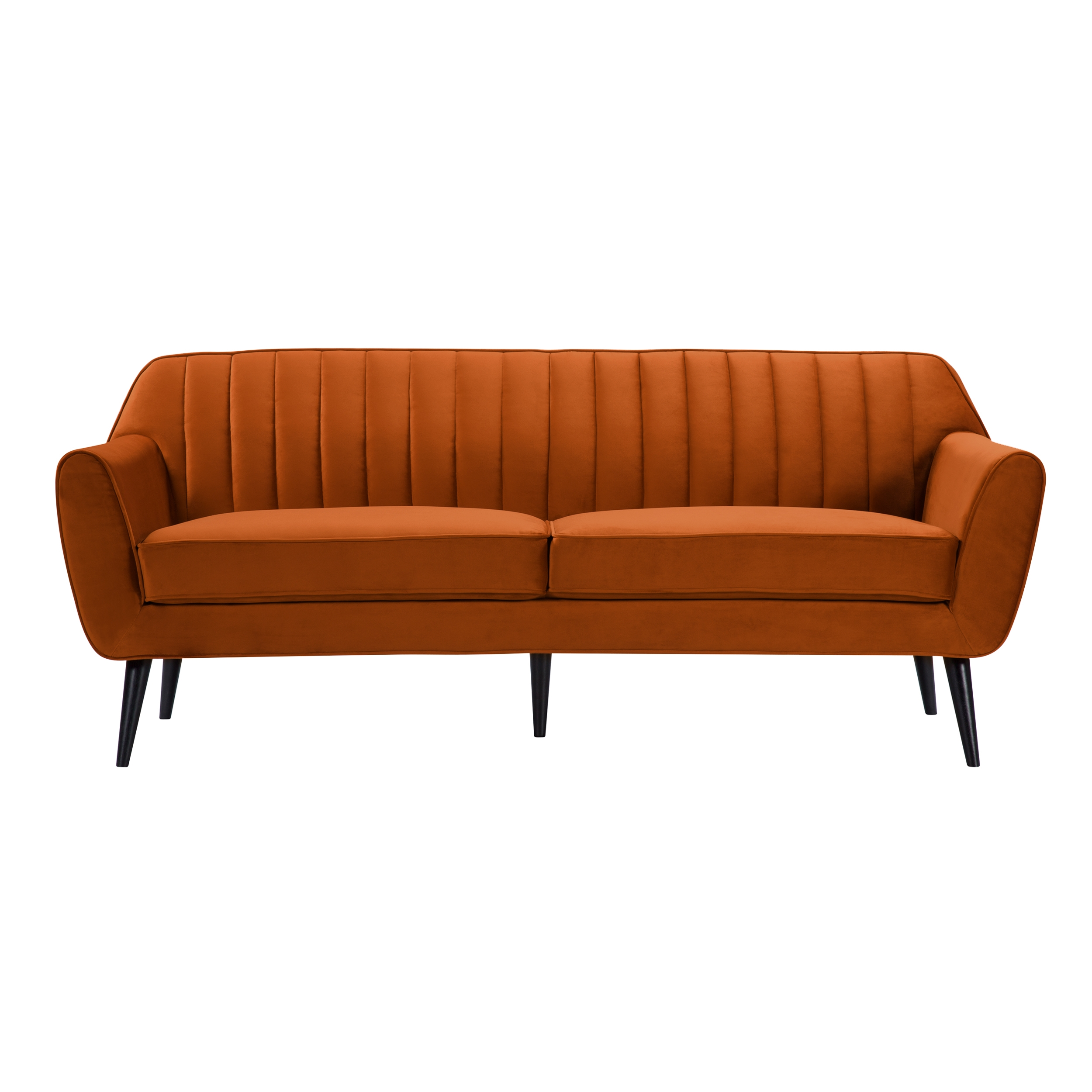 Canapé 3 places en velours orange
