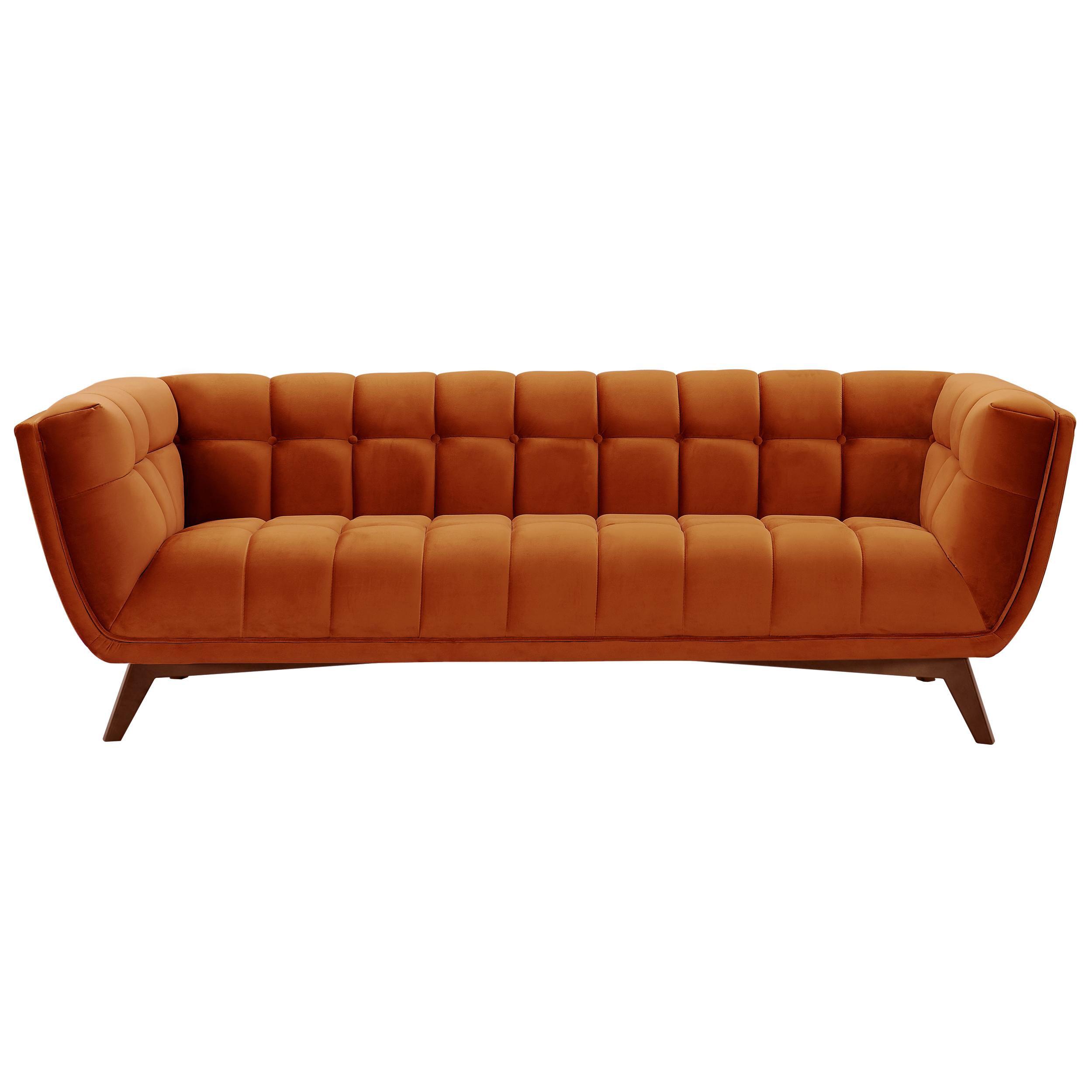 Canapé 3 places en velours orange curcuma