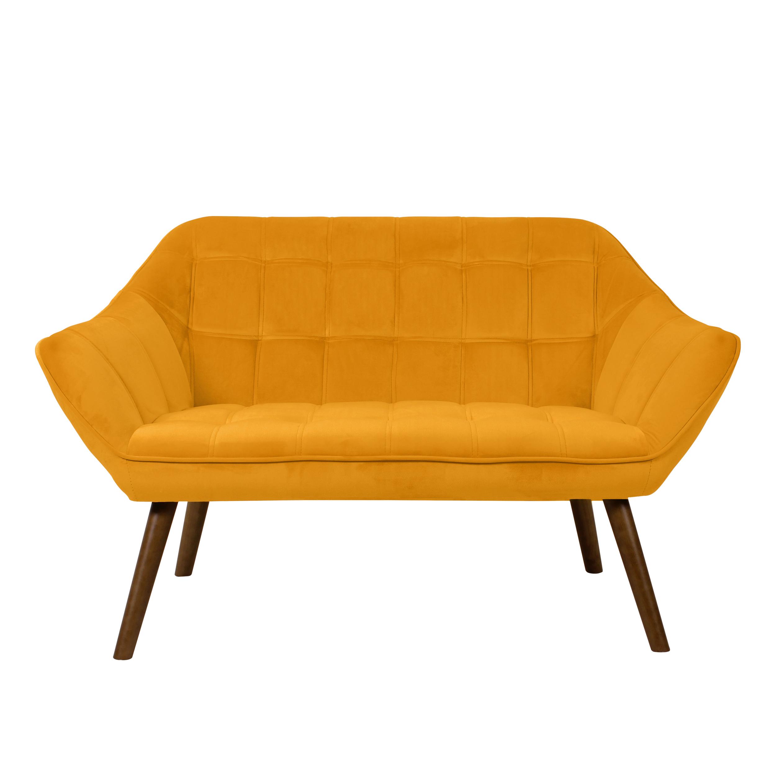 Canapé 2 places en velours jaune