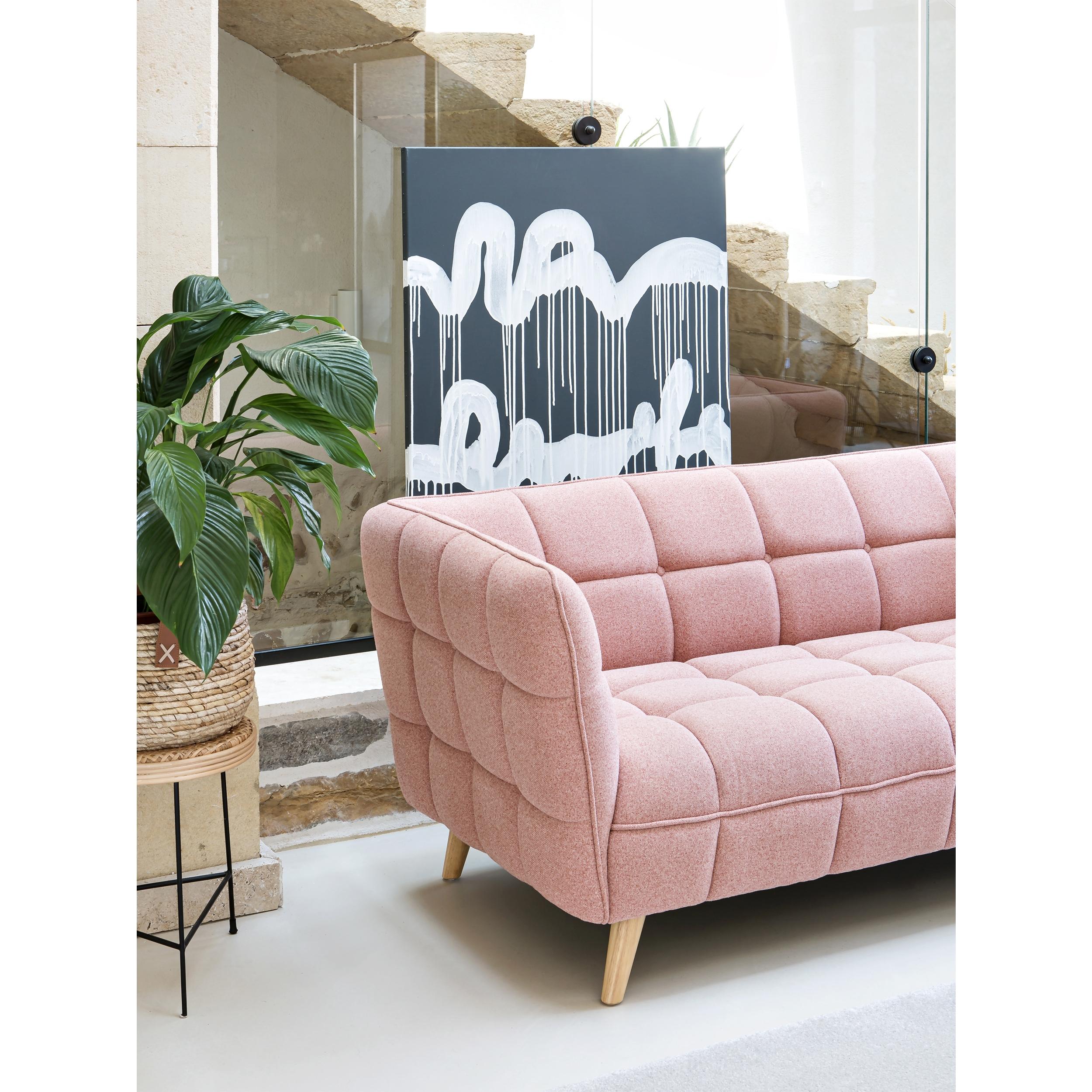 Canapé 3 places en tissu rose