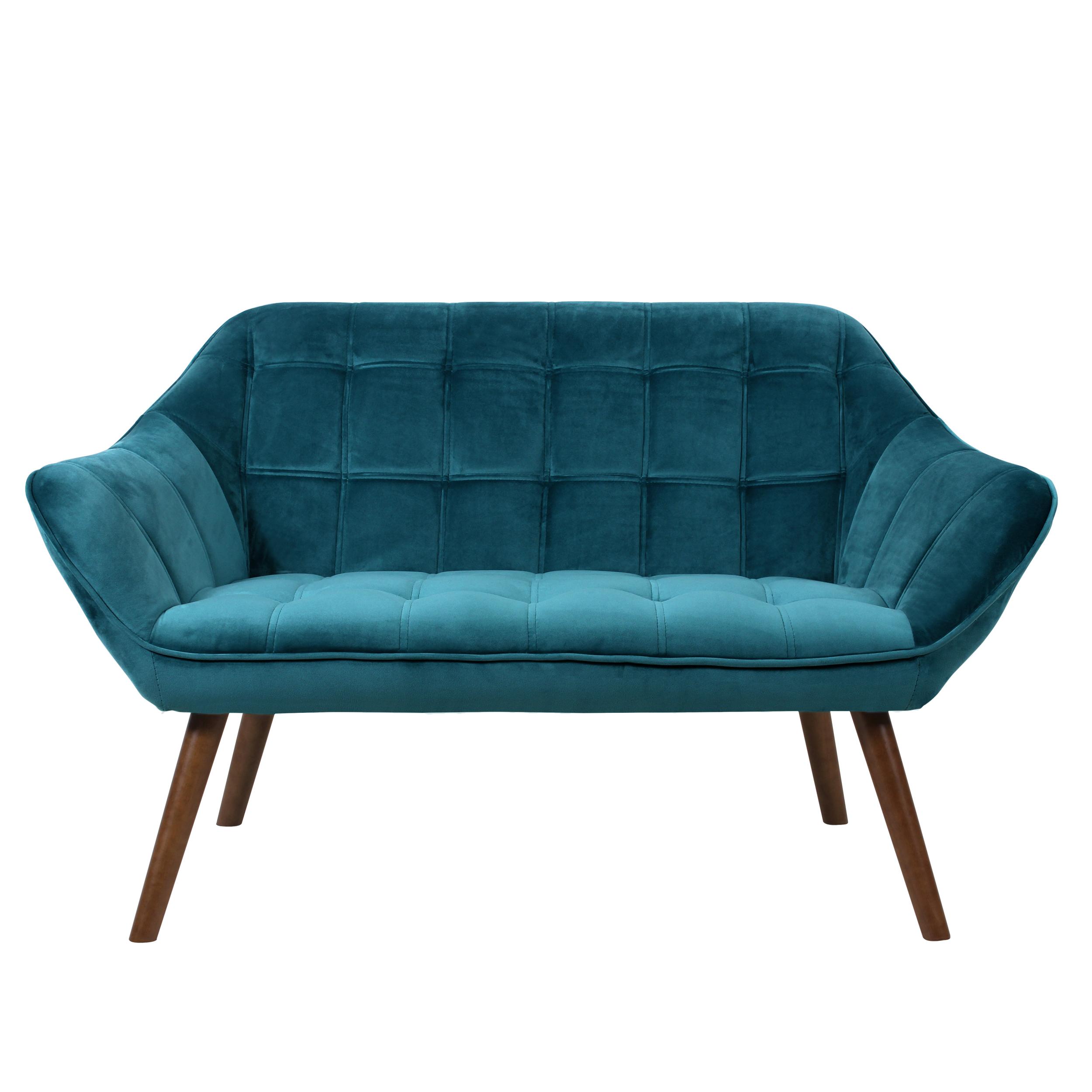 Canapé 2 places en velours bleu turquoise