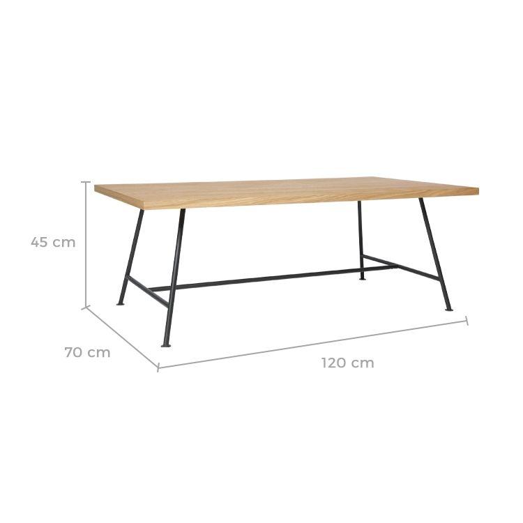 Table basse rectangulaire bois clair et pieds métal