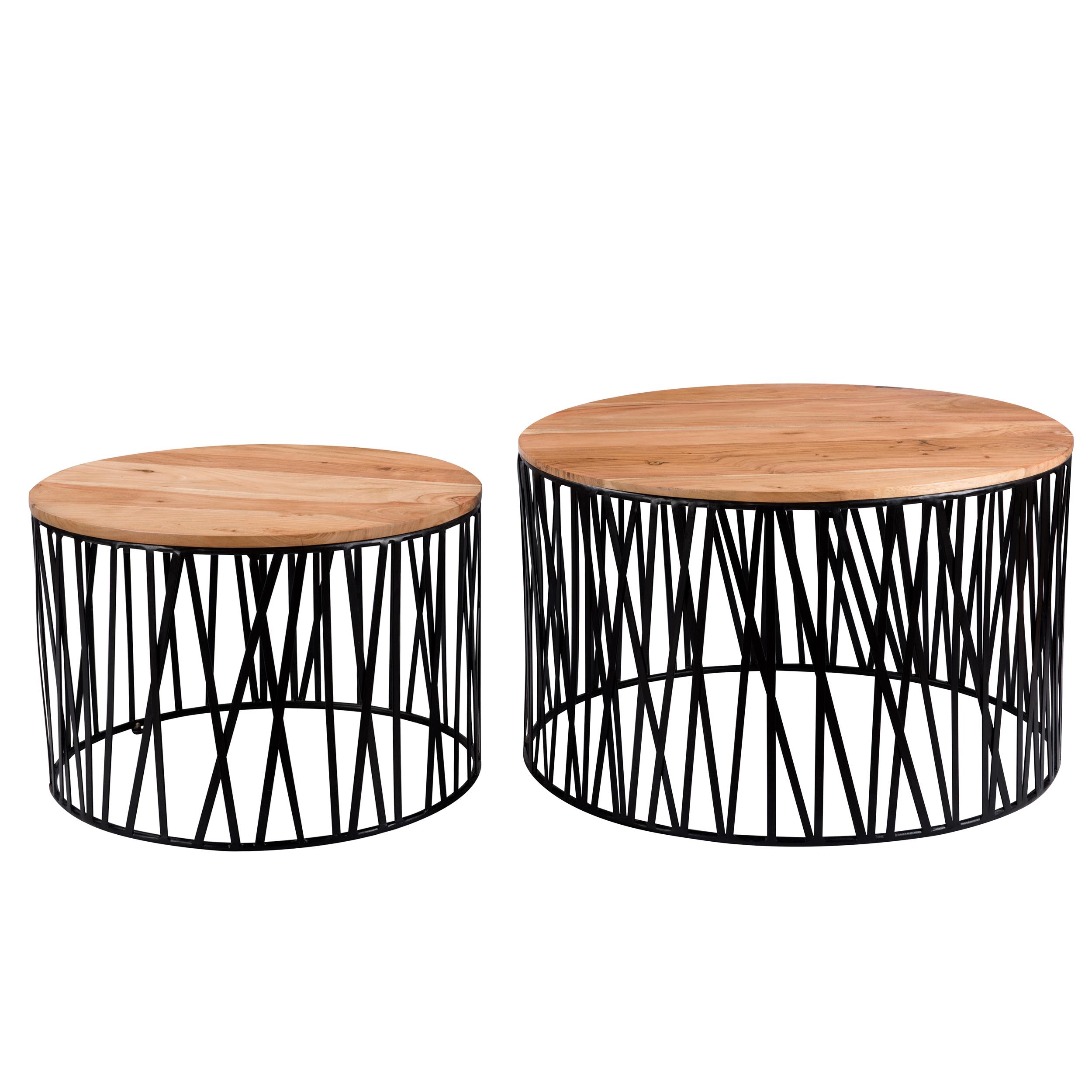 maison du monde Tables basses rondes en bois d'acacia et métal (lot de 2)