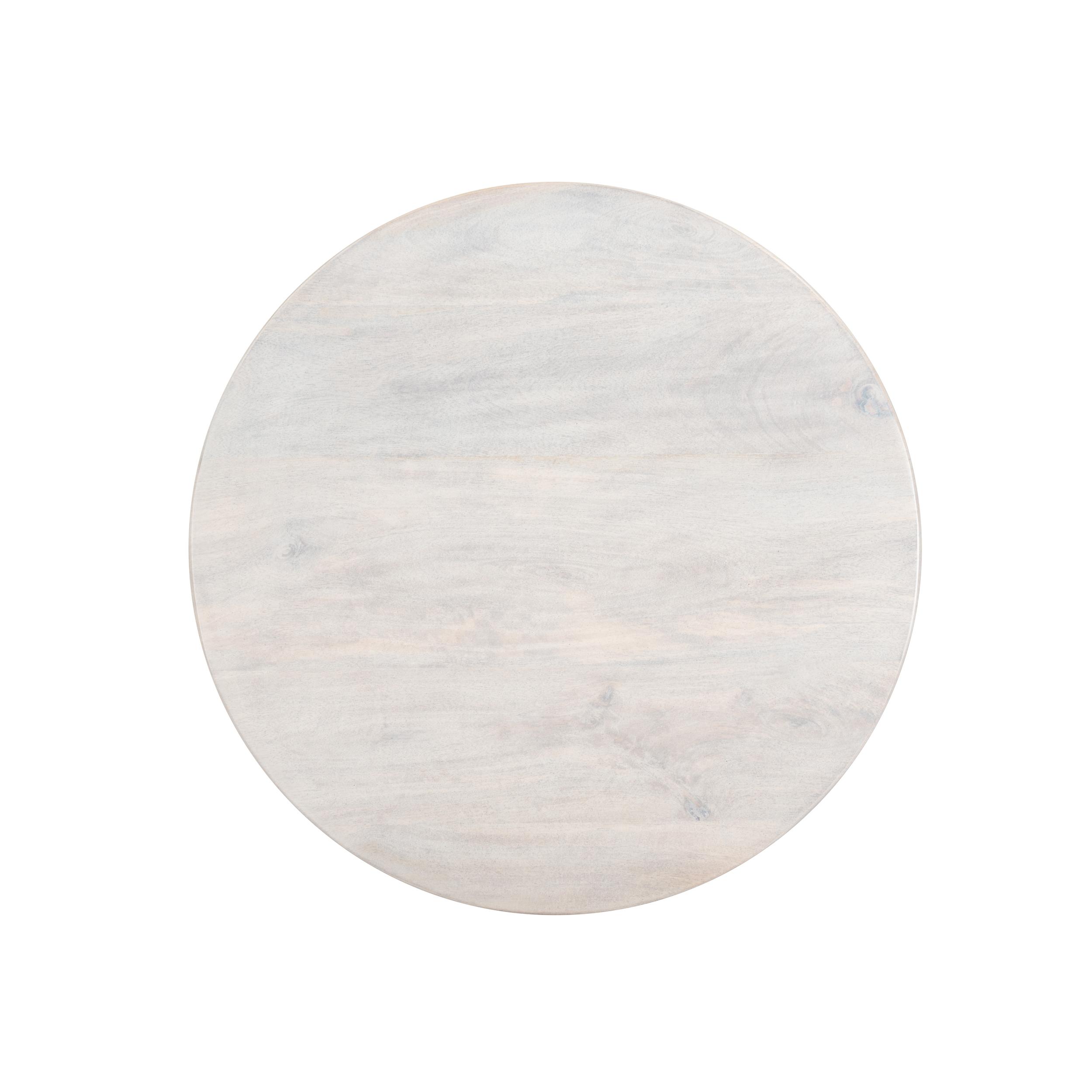 Table basse ronde en bois de manguier et pieds en métal noir