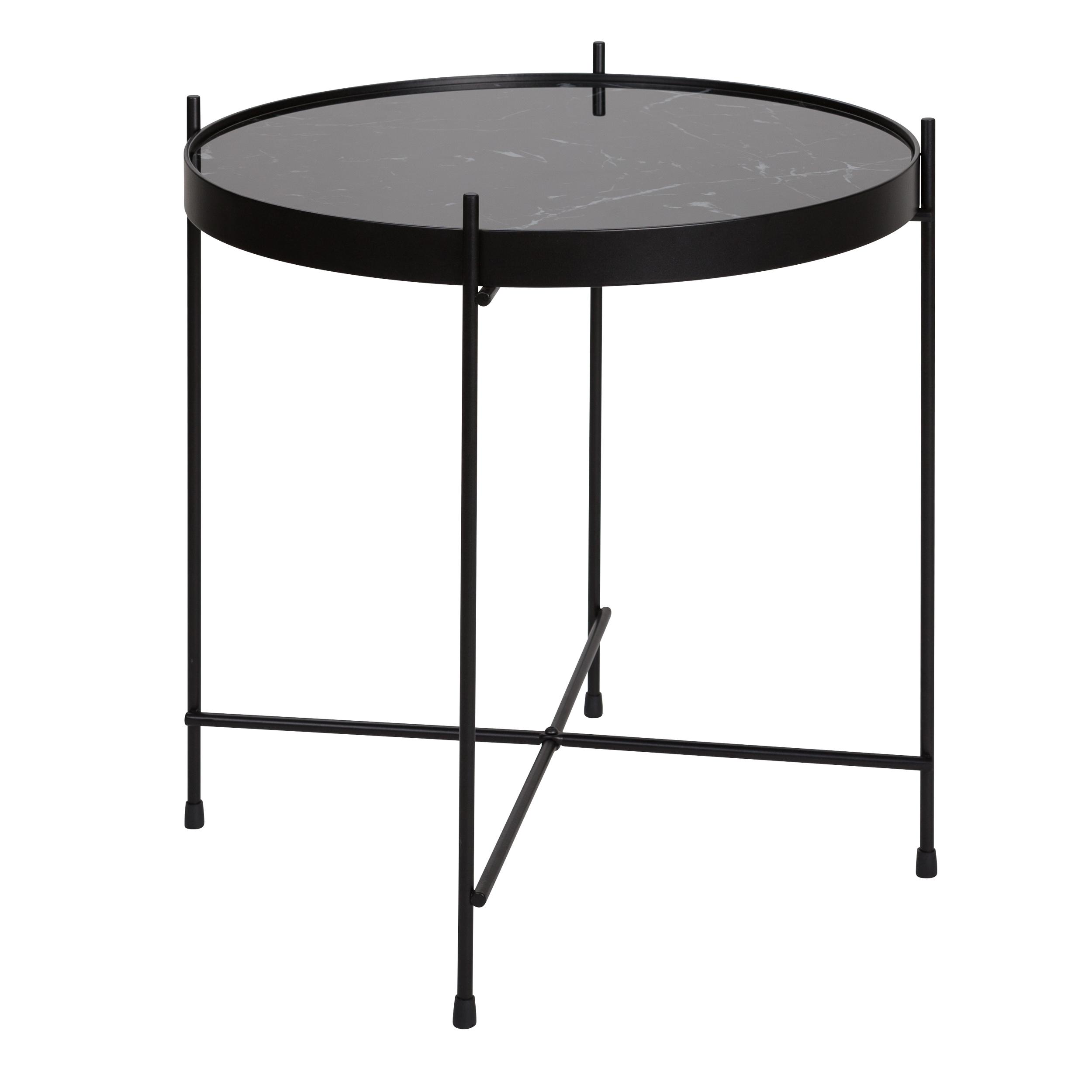 Table basse ronde en verre effet marbre noir et métal ?43 cm