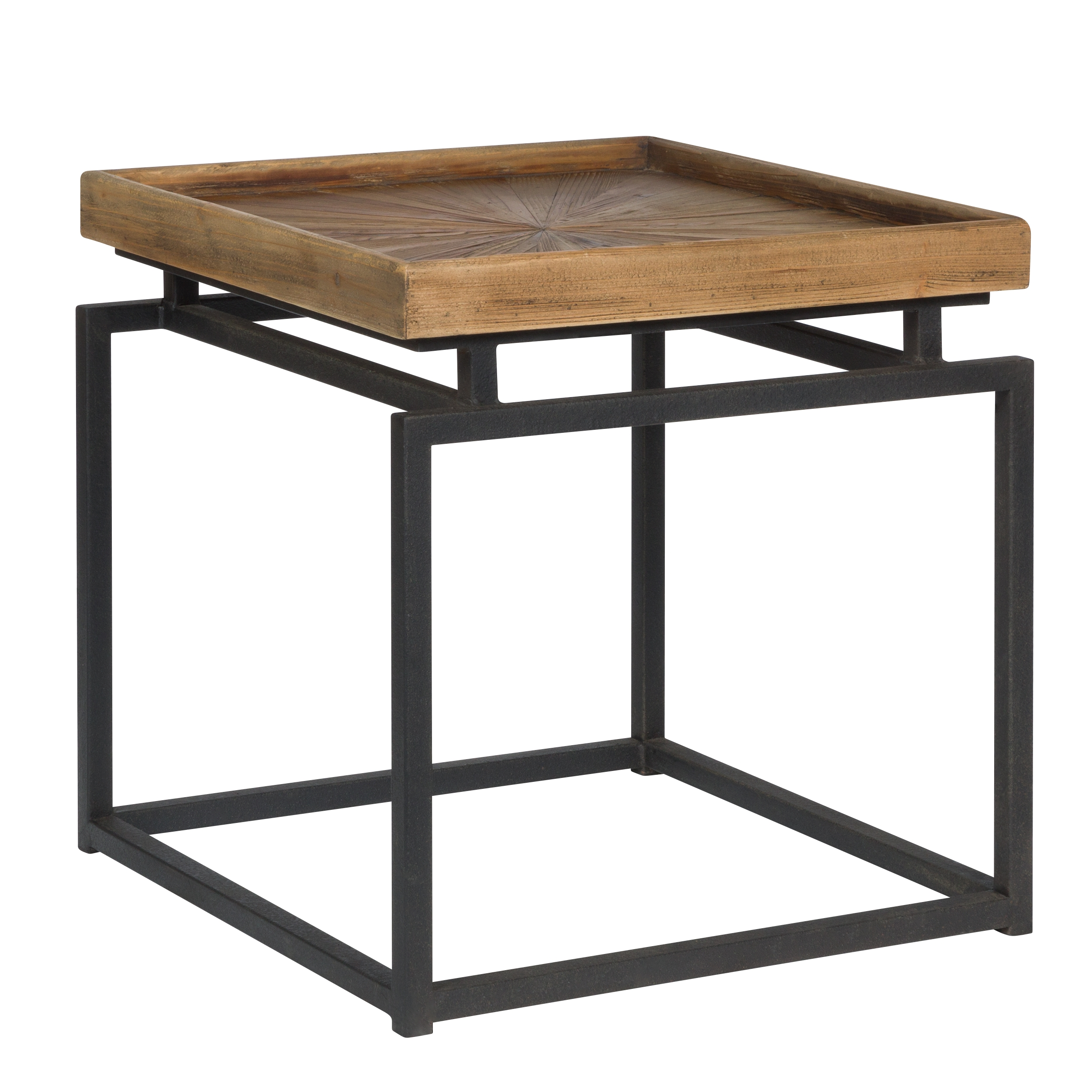 Table basse carrée en bois recyclé et métal