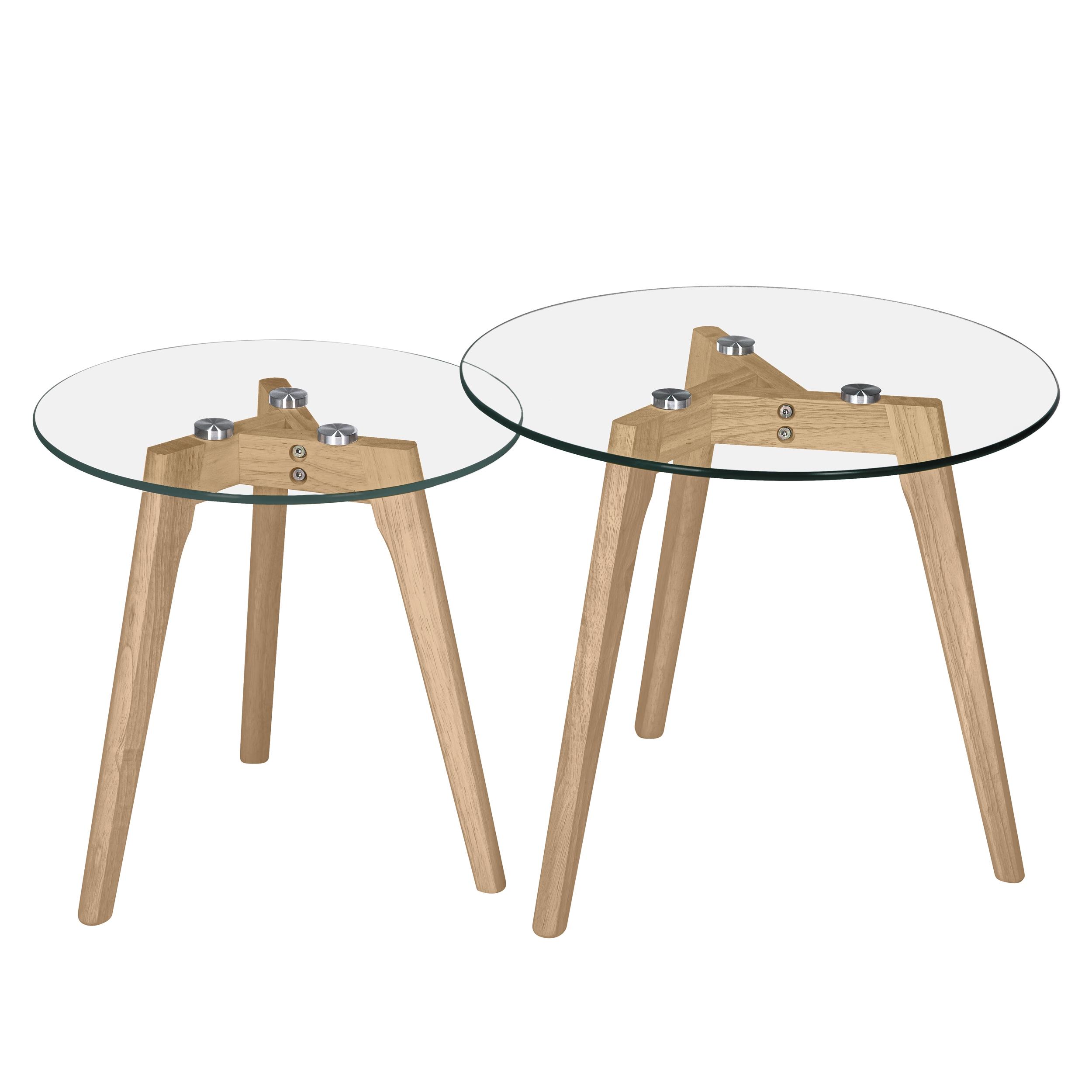 Tables basses rondes en verre et bois d'hévéa (lot de 2)
