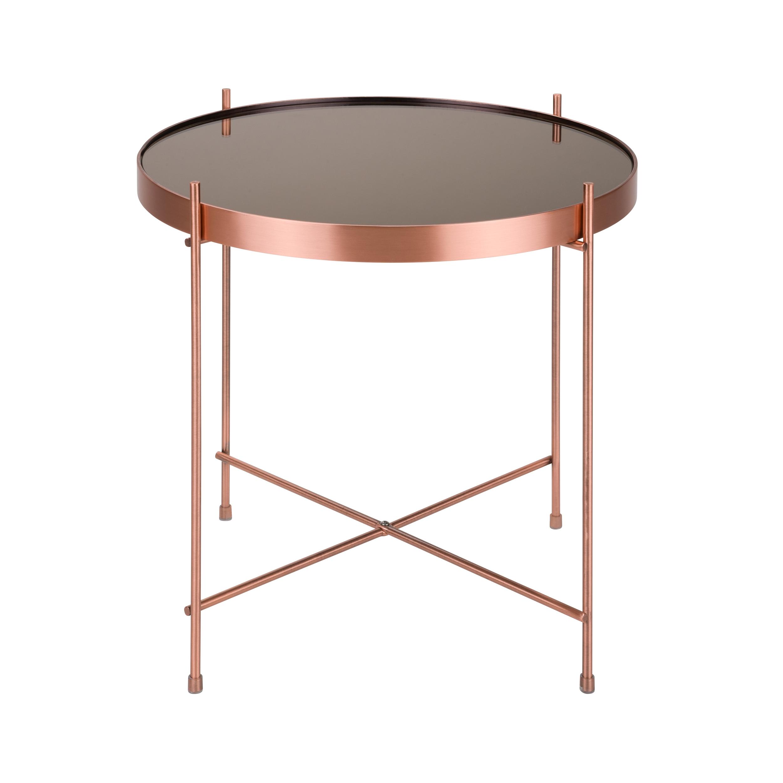 Table basse ronde S en métal cuivre et plateau en verre
