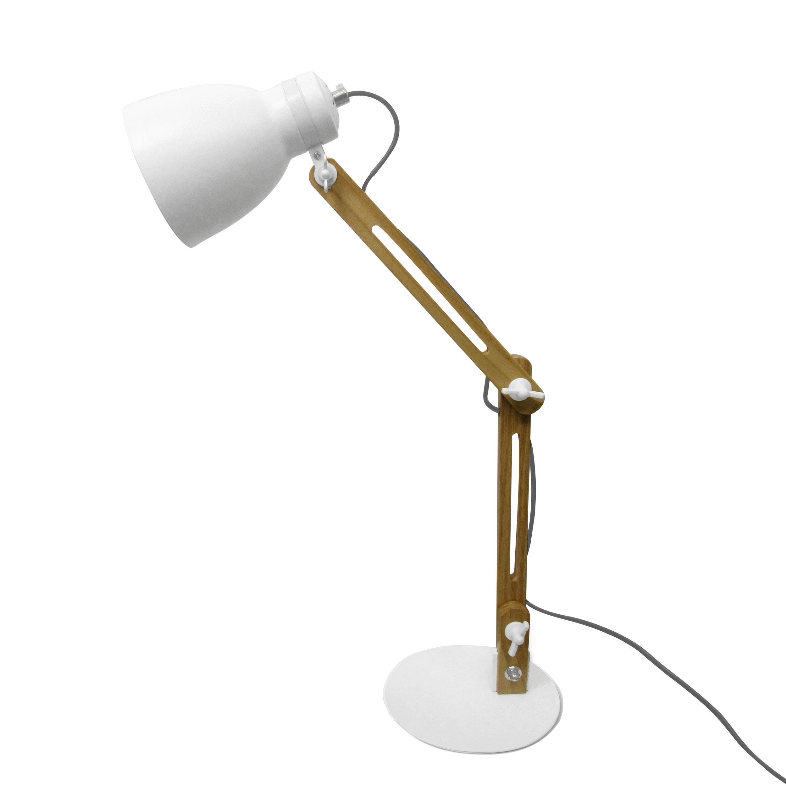 Lampe de bureau articulée tête en métal blanc