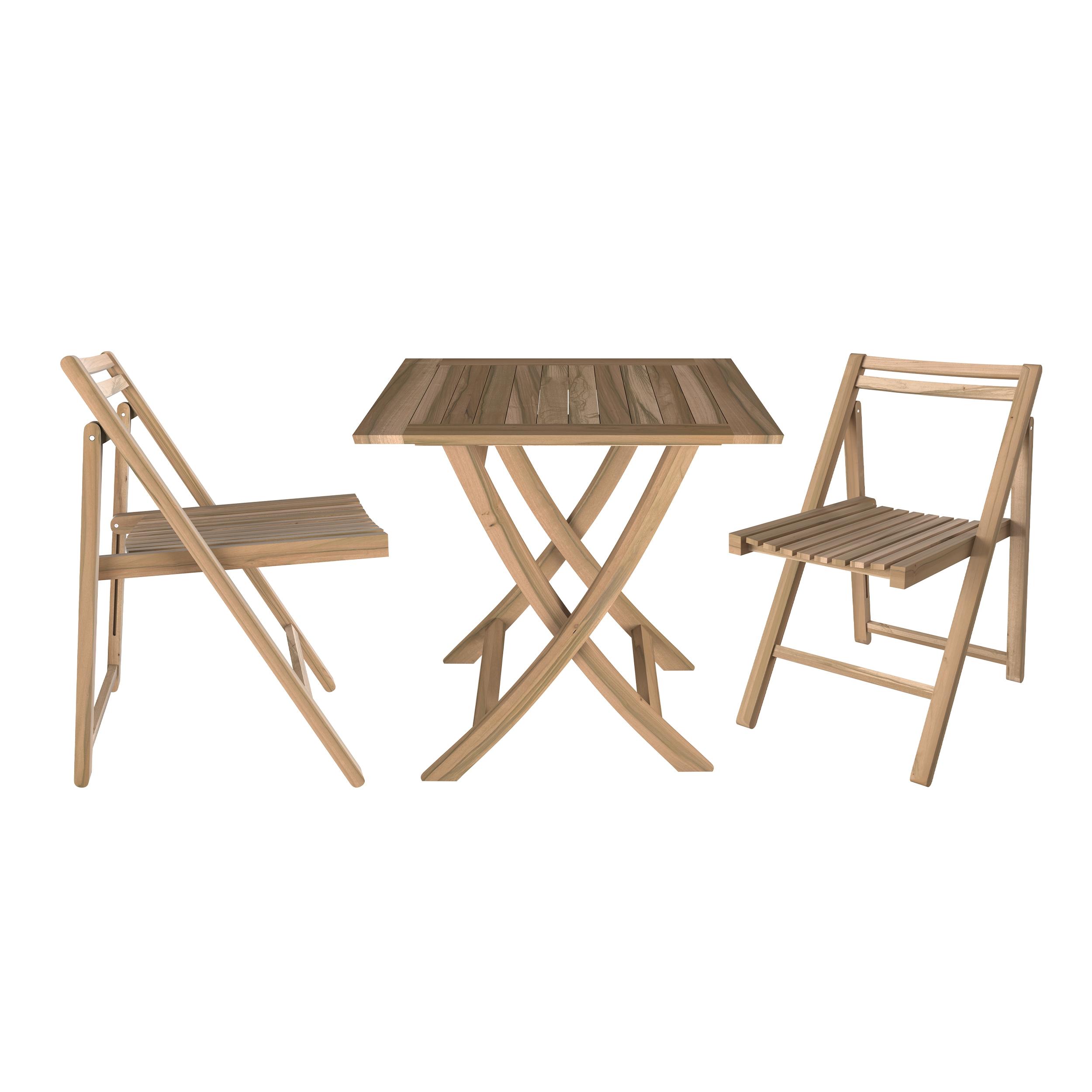 Set de terrasse : 1 table 60cm et 2 chaises pliantes en teck