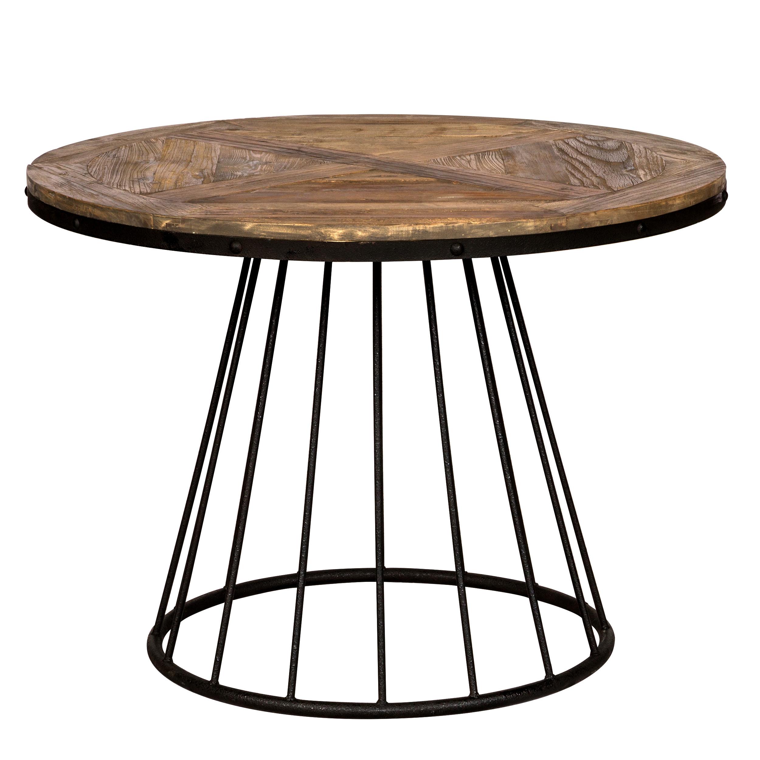 maison du monde Table à manger ronde en bois de cèdre, 5 personnes