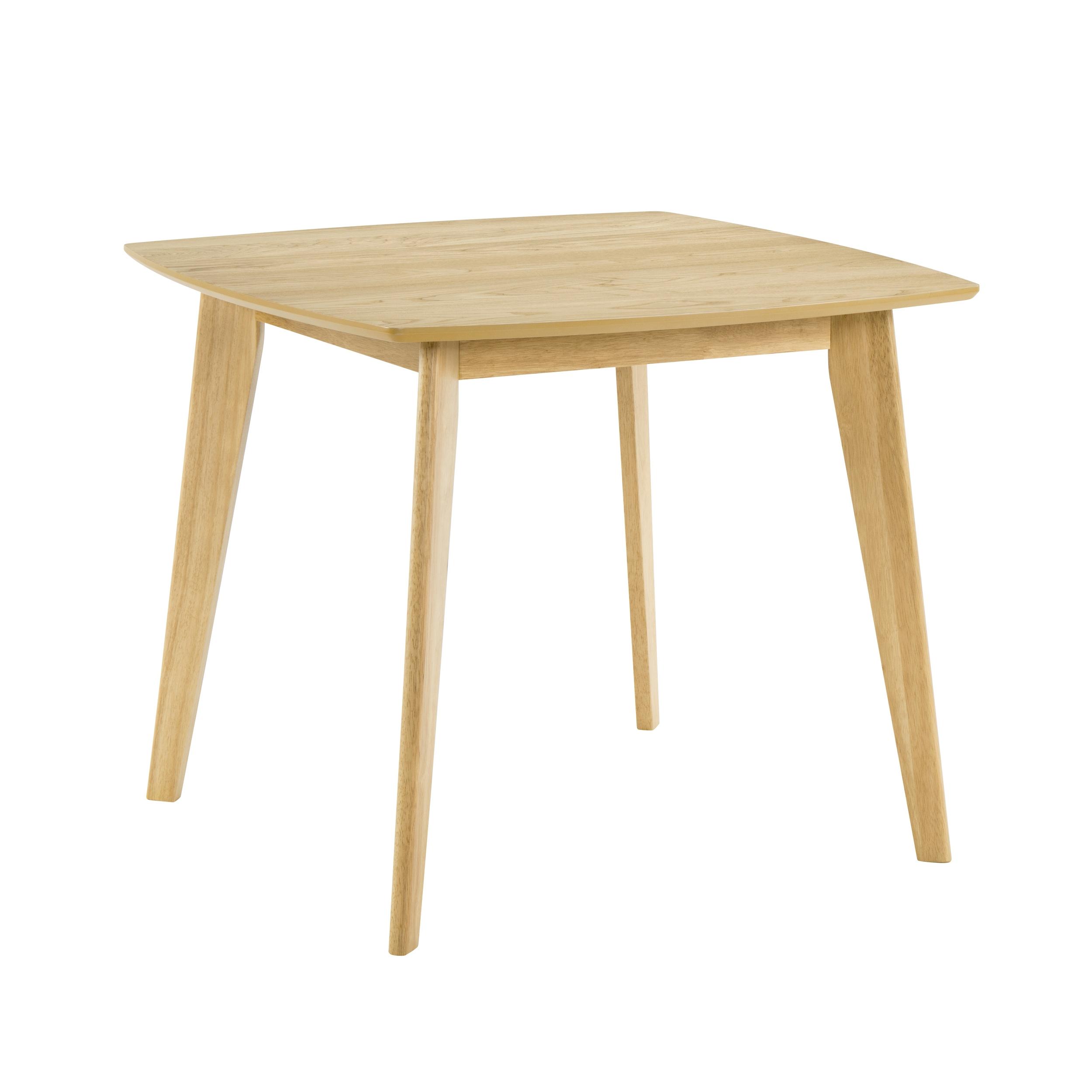 Table à manger carrée en bois clair, 4 personnes