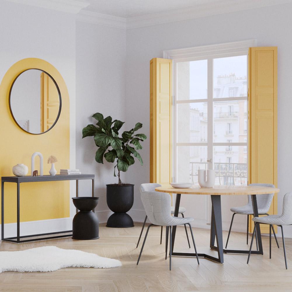Table à manger ronde en bois d'acacia, 4 personnes