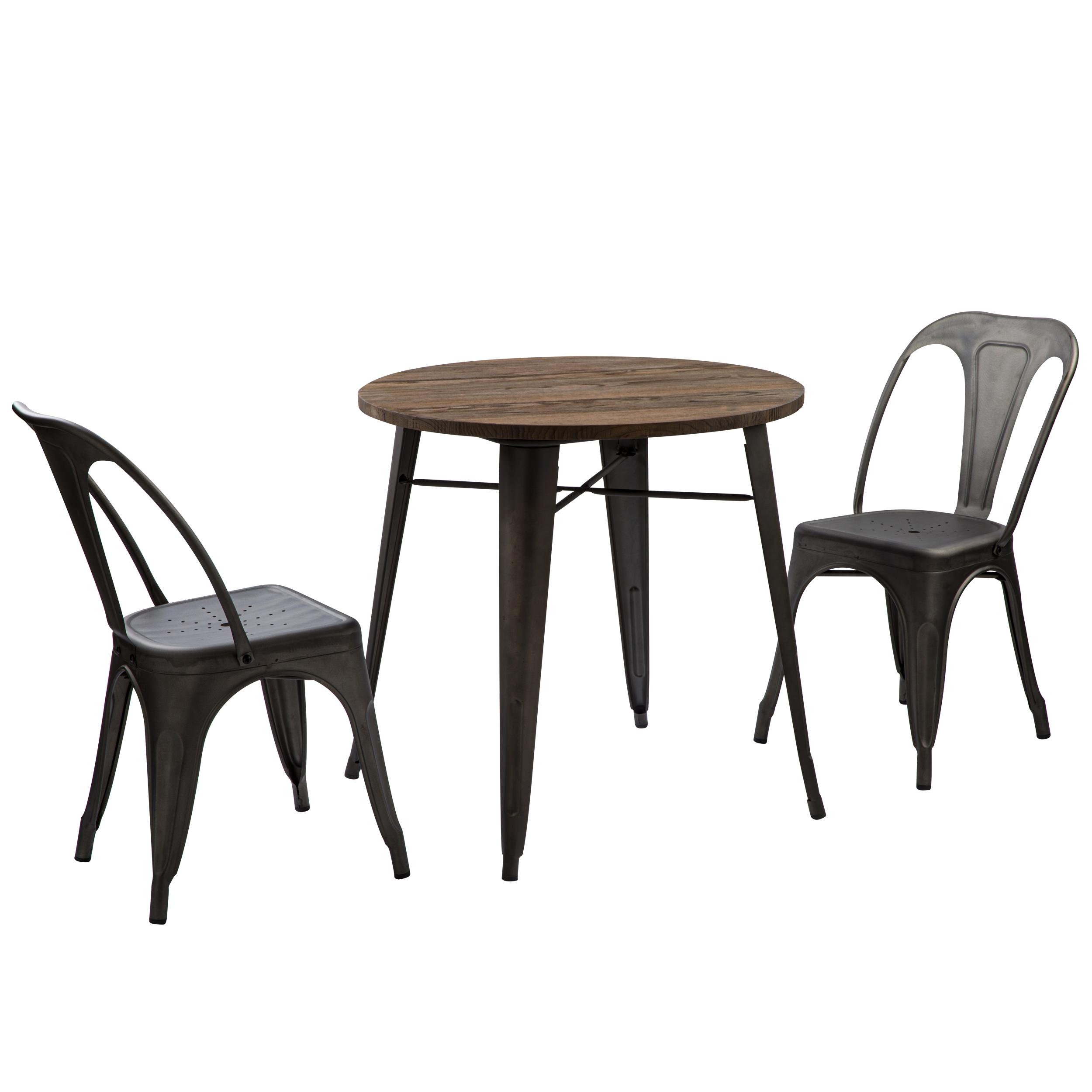 Table ronde ?80 cm en bois foncé et piétement métal noir