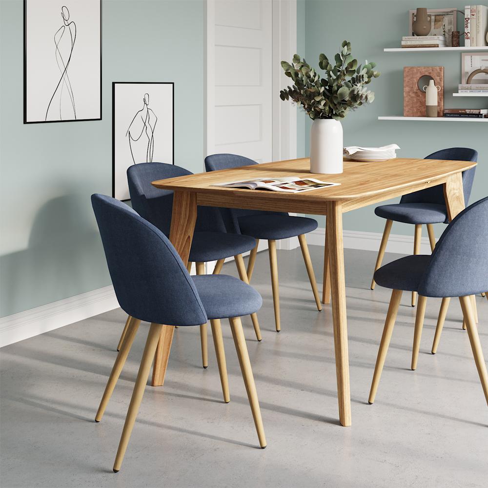 Table à manger rectangulaire en bois clair, 6 personnes