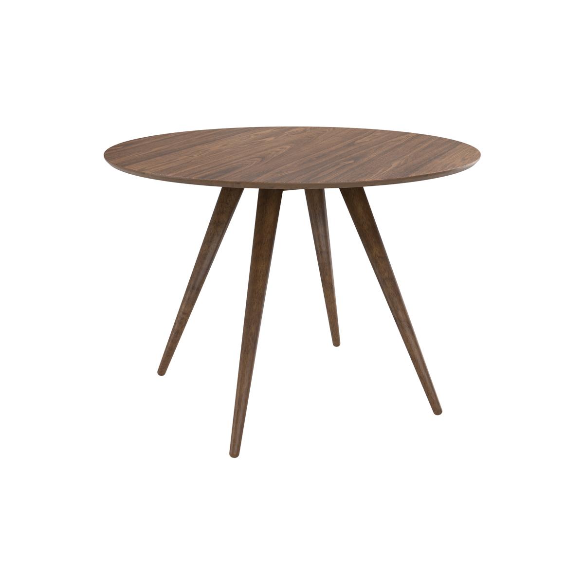 Table à manger ronde en bois foncé, 4 personnes