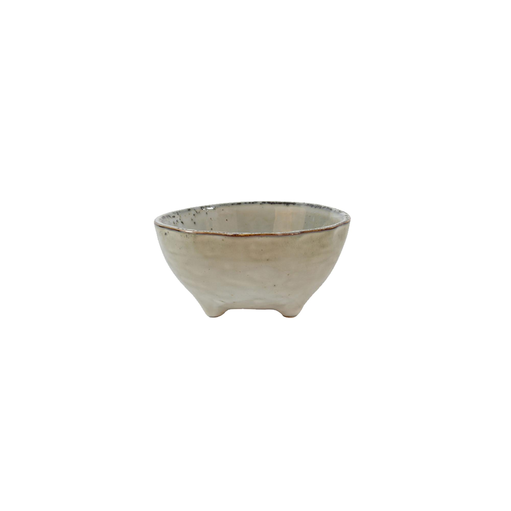 Coupelle sur pied en grès artisanal beige 9.5 cm - Lot de 6