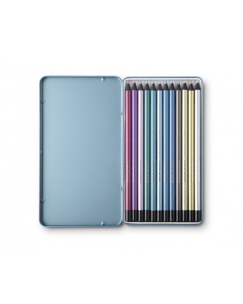 Boite de 12 Crayons de Couleur Metallic Printworks