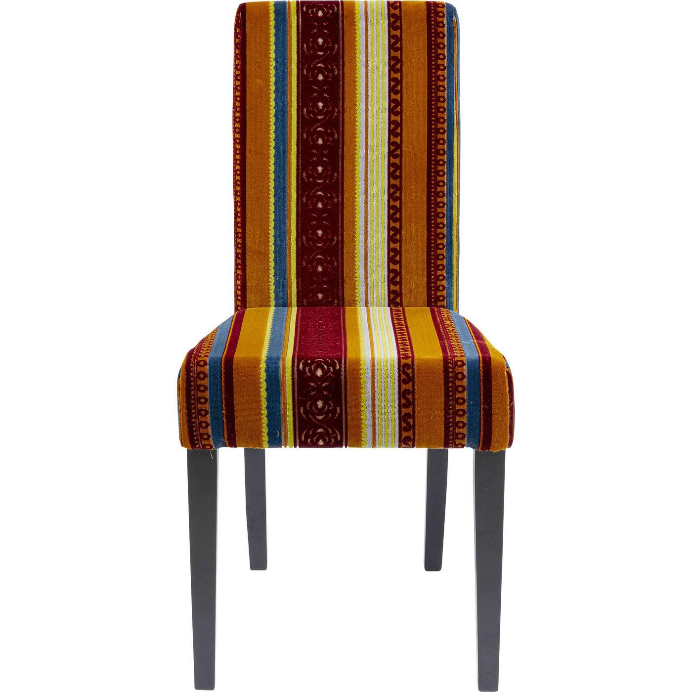 Chaise patchwork rouge/orange et hêtre noir