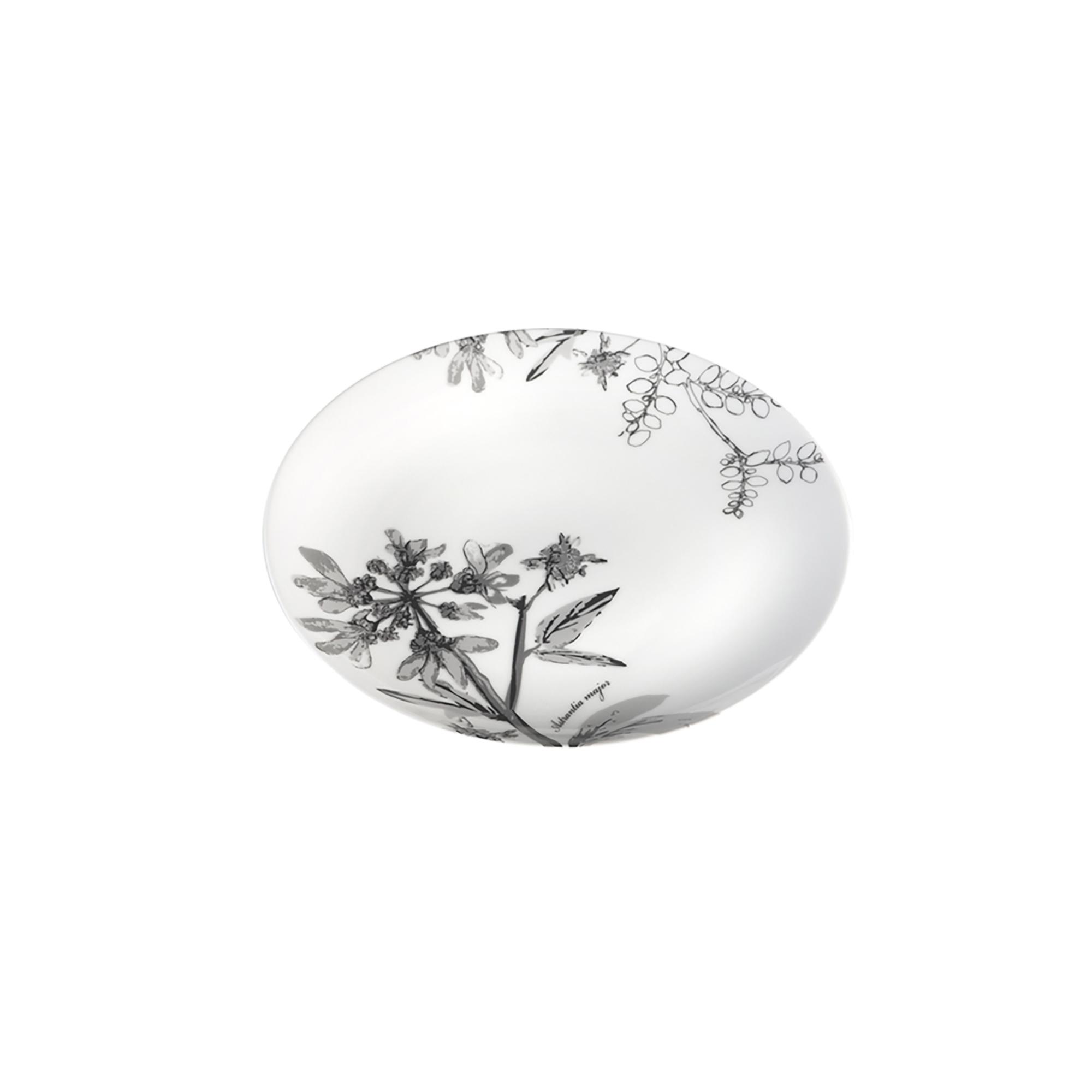 Assiette dessert en porcelaine décorée gris 21 cm - Lot de 6