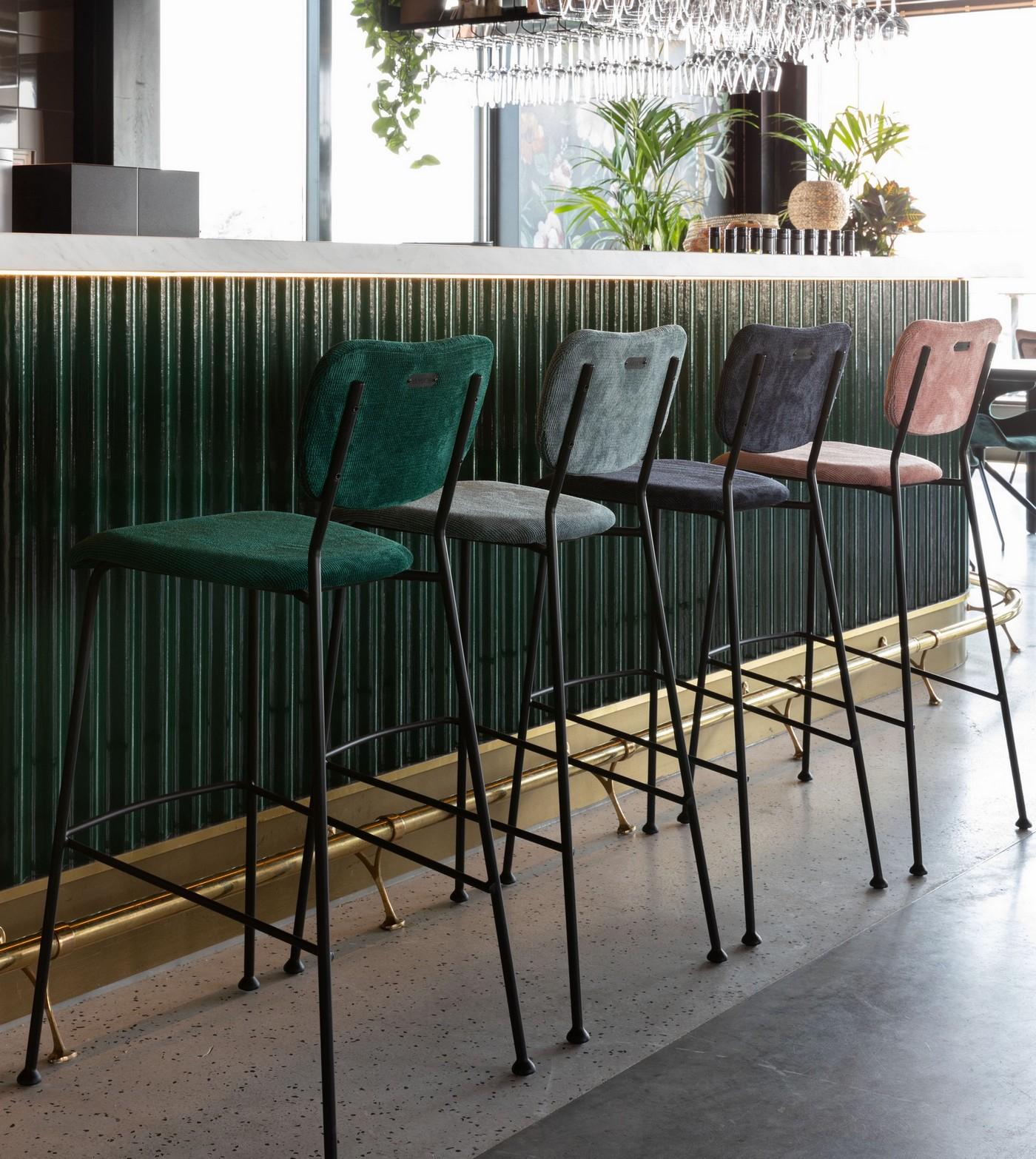 Tabouret de bar rétro en velours vert