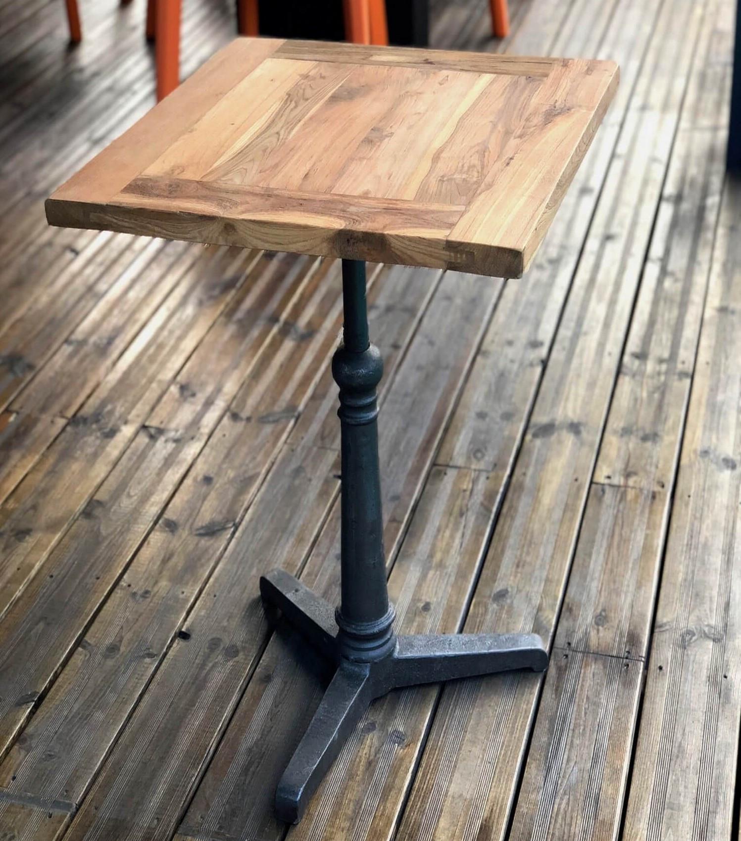 Table haute carrée 60 cm acier et bois massif